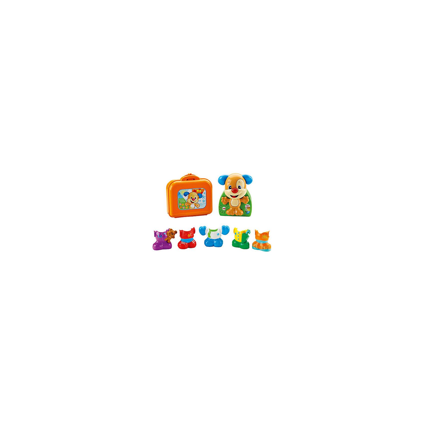 Игра «Наряди щенка», Fisher PriceИгра «Наряди щенка», Fisher Price ? развивающая игрушка от знаменитого бренда Mattel с технологией Smart Stages, которая позволяет выбирать индивидуальный режим обучения для ребенка. Игрушка выполнена из качественного и безопасного пластика, устойчивого к изменению цвета и механическим повреждениям и сколам. У всех элементов отсутствуют острые углы, что делает игрушку безопасной.<br>Игра «Наряди щенка», Fisher Price представляет собой набор из фигурки щенка и пяти разнообразных съемных нарядов. Щенок – интерактивный, он произносит звуки и слова, поет песенки. Увлекательная игра со щенком позволит в легкой ненавязчивой форме познакомиться ребенку с различными предметами одежды, освоить и запомнить особенности каждого времени года. Игровой набор направлен на развитие мелкой моторики, расширение кругозора и словарного запаса ребенка.<br> <br>Дополнительная информация:<br><br>- Вид игр: развивающие, сюжетно-ролевые <br>- Материал: пластик<br>- Комплектация: фигурка щенка, пять съемных нарядов, чемоданчик<br>- Размер (Д*Ш*В): 9*34,5*33 см<br>- Вес: 830 г <br>- Особенности ухода: все элементы набора можно протирать влажной губкой<br><br>Подробнее:<br><br>• Для детей в возрасте: от 1,5 лет и до 4 лет<br>• Страна производитель: Китай<br>• Торговый бренд: Mattel<br><br>Игру «Наряди щенка», Fisher Price можно купить в нашем интернет-магазине.<br><br>Ширина мм: 90<br>Глубина мм: 345<br>Высота мм: 330<br>Вес г: 830<br>Возраст от месяцев: 18<br>Возраст до месяцев: 48<br>Пол: Унисекс<br>Возраст: Детский<br>SKU: 4915808
