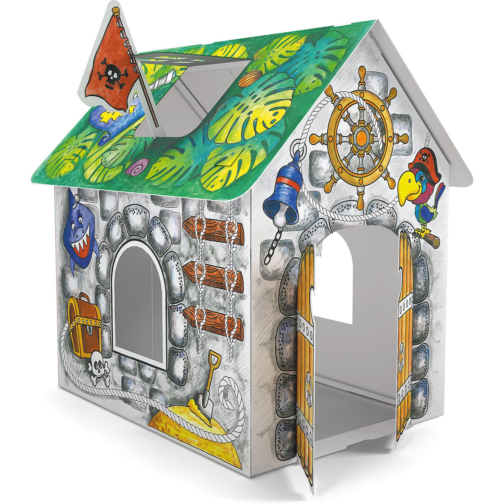 Домик для раскрашивания ПиратскийРукоделие<br>Играть в пиратов обожает множество мальчишек. Порадовать ребенка можно новым игровым набором от известного производителя - пиратским домиком из прочного картона, который мальчик сможет не только сам раскрасить, по и самостоятельно собрать, далее придумывая множество игр с этим вместительным жилищем пиратов.<br>Такая игрушка поможет развить не только творческие способности ребенка, но и мелкую моторику, художественный вкус, логику, внимательность и умение нестандартно мыслить.<br><br><br>Дополнительная информация:<br><br>состав: бумага, картон;<br>размер: 93 х 62 х 84 см;<br>возраст: от трех лет.<br><br>Домик для раскрашивания Пиратский (для мальчиков) от компании ErichKrause можно купить в нашем магазине.<br><br>Ширина мм: 300<br>Глубина мм: 150<br>Высота мм: 400<br>Вес г: 510<br>Цвет: зеленый<br>Возраст от месяцев: 36<br>Возраст до месяцев: 180<br>Пол: Мужской<br>Возраст: Детский<br>SKU: 4915816