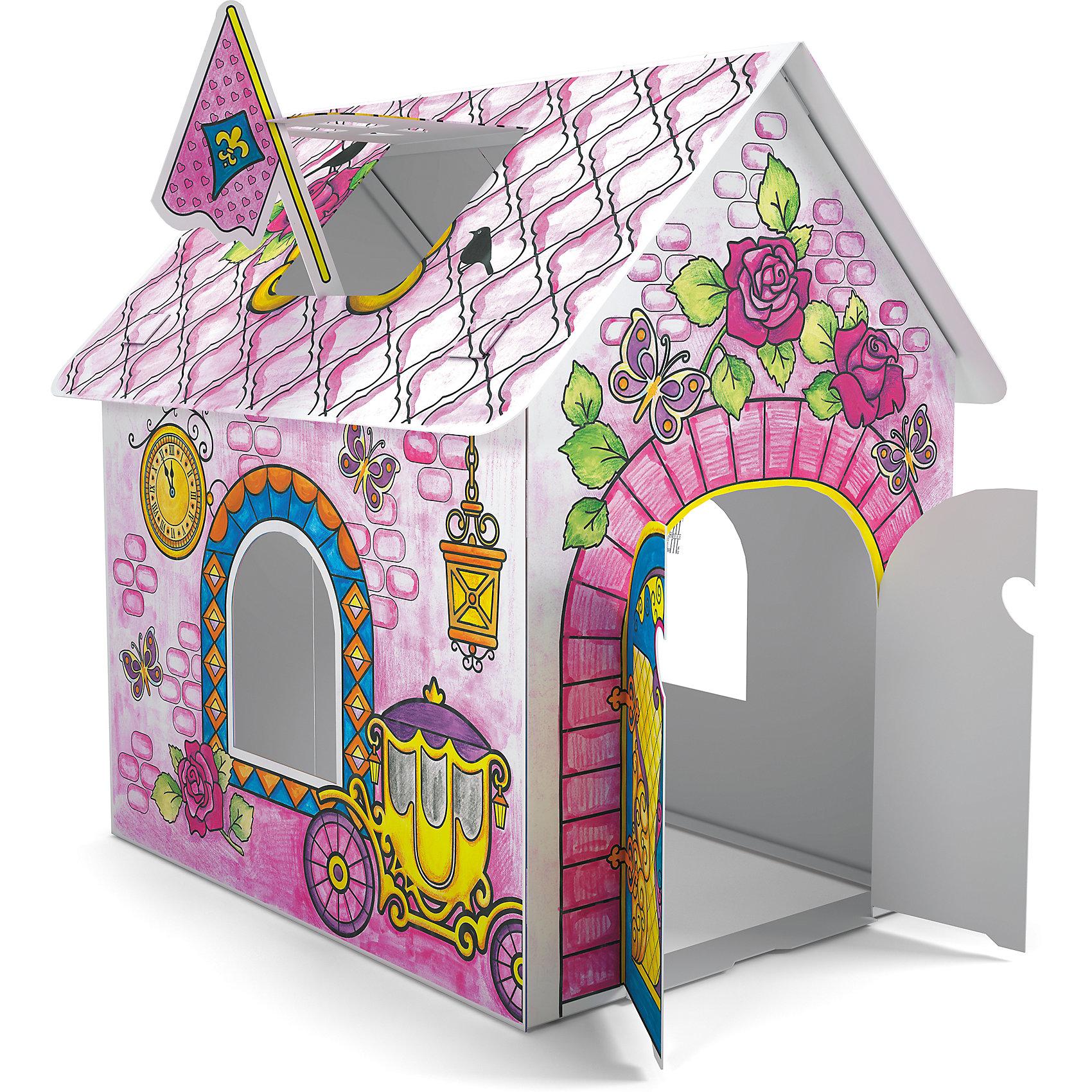Домик для раскрашивания Замок принцессыРисование<br>Играть в принцесс обожает множество девчонок. Порадовать ребенка можно новым игровым набором от известного производителя - домиком для принцессы из прочного картона, который девочка сможет не только сама раскрасить, по и самостоятельно собрать, далее придумывая множество игр с этим вместительным жилищем принцессы. <br>Такая игрушка поможет развить не только творческие способности ребенка, но и мелкую моторику, художественный вкус, логику, внимательность и умение нестандартно мыслить.<br><br>Дополнительная информация:<br><br>Состав: детали для сборки (картон) + 6 цветных мелков в подарок;<br>Размер домика: 93х62х84 см;<br>Размер упаковки: 25х32х32 см.<br>Возраст: от трех лет.<br><br>Домик для раскрашивания Замок принцессы (для девочек) от компании ErichKrause можно купить в нашем магазине.<br><br>Ширина мм: 300<br>Глубина мм: 150<br>Высота мм: 400<br>Вес г: 510<br>Цвет: розовый<br>Возраст от месяцев: 36<br>Возраст до месяцев: 180<br>Пол: Женский<br>Возраст: Детский<br>SKU: 4915817