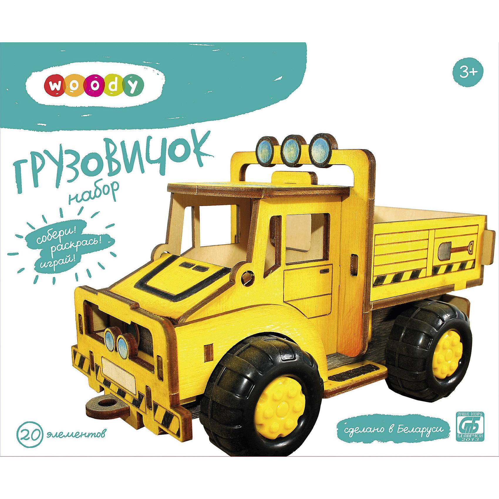 Набор ГрузовичокДеревянные конструкторы<br>Ребенок постоянно чему-то учится, сделать процесс познавания мира для малышей - просто! Интересная обучающая игрушка Грузовичок - это деревянный пазл в виде машины, он поможет ребенку научиться сопоставлять детали.<br>Этот объемный пазл обязательно займет ребенка! Игра с ним помогает детям развивать мелкую моторику и познавать мир, также его можно раскрасить по своему усмотрению. Обучающая игрушка сделана из качественных и безопасных для ребенка материалов - натурального дерева.<br><br>Дополнительная информация:<br><br>цвет: дерево;<br>размер упаковки: 22,5 х 30,5 х 6,5 см;<br>вес: 395 г;<br>элементов: 20;<br>материал: дерево.<br><br>Набор Грузовичок можно купить в нашем магазине.<br><br>Ширина мм: 280<br>Глубина мм: 65<br>Высота мм: 235<br>Вес г: 395<br>Возраст от месяцев: 36<br>Возраст до месяцев: 2147483647<br>Пол: Унисекс<br>Возраст: Детский<br>SKU: 4916352