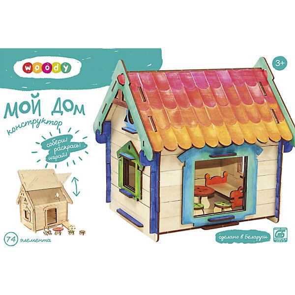 Конструктор Мой домДеревянные конструкторы<br>Любой ребенок постоянно чему-то учится, сделать процесс познавания мира для малышей - просто! Интересная развивающая игрушка Мой дом - это деревянный конструктор в виде домика с мебелью, он поможет ребенку научиться сопоставлять детали. <br>Этот конструктор обязательно займет ребенка! Игра с ним помогает детям развивать мелкую моторику и познавать мир, также его можно раскрасить по своему усмотрению. Обучающая игрушка сделана из качественных и безопасных для ребенка материалов - натурального дерева.<br><br>Дополнительная информация:<br><br>цвет: дерево;<br>размер: 29 х 24 х 27 см;<br>вес: 900 г;<br>элементов: 74;<br>материал: дерево.<br><br>Конструктор Мой дом можно купить в нашем магазине.<br>Ширина мм: 340; Глубина мм: 70; Высота мм: 235; Вес г: 994; Возраст от месяцев: 36; Возраст до месяцев: 2147483647; Пол: Унисекс; Возраст: Детский; SKU: 4916366;