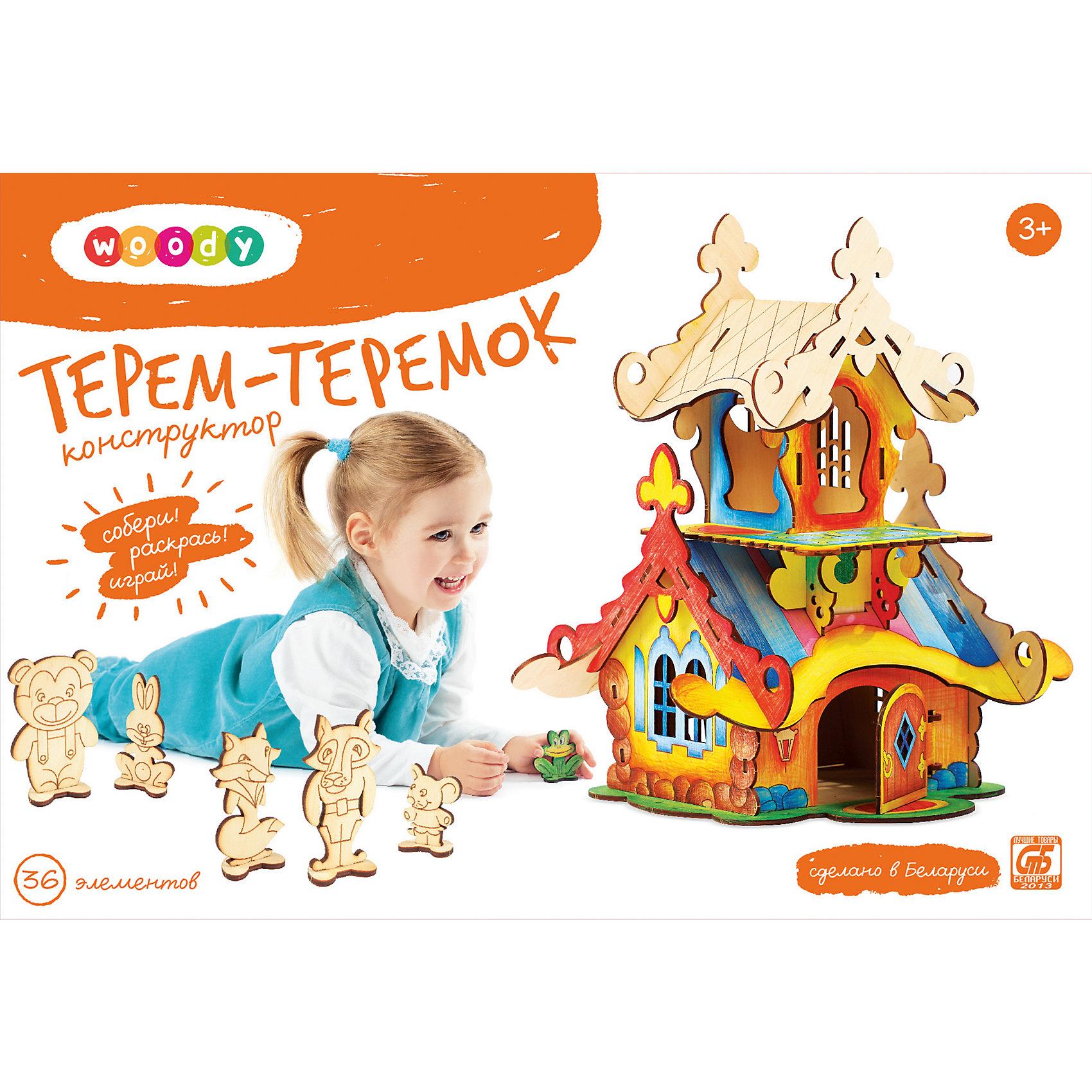 Конструктор Терем-ТеремокРебенок постоянно чему-то учится, сделать процесс познавания мира для малышей - просто! Интересная развивающая игрушка Терем-Теремок - это деревянный конструктор в виде сказочного домика, он поможет ребенку научиться сопоставлять детали. <br>Этот конструктор обязательно займет ребенка! Игра с ним помогает детям развивать мелкую моторику и познавать мир, также его можно раскрасить по своему усмотрению. Обучающая игрушка сделана из качественных и безопасных для ребенка материалов - натурального дерева.<br><br>Дополнительная информация:<br><br>цвет: дерево;<br>размер: 32 х 24 х 37 см;<br>вес: 700 г;<br>элементов: 36;<br>материал: дерево.<br><br>Конструктор Терем-Теремок можно купить в нашем магазине.<br><br>Ширина мм: 335<br>Глубина мм: 230<br>Высота мм: 70<br>Вес г: 874<br>Возраст от месяцев: 36<br>Возраст до месяцев: 2147483647<br>Пол: Унисекс<br>Возраст: Детский<br>SKU: 4916368