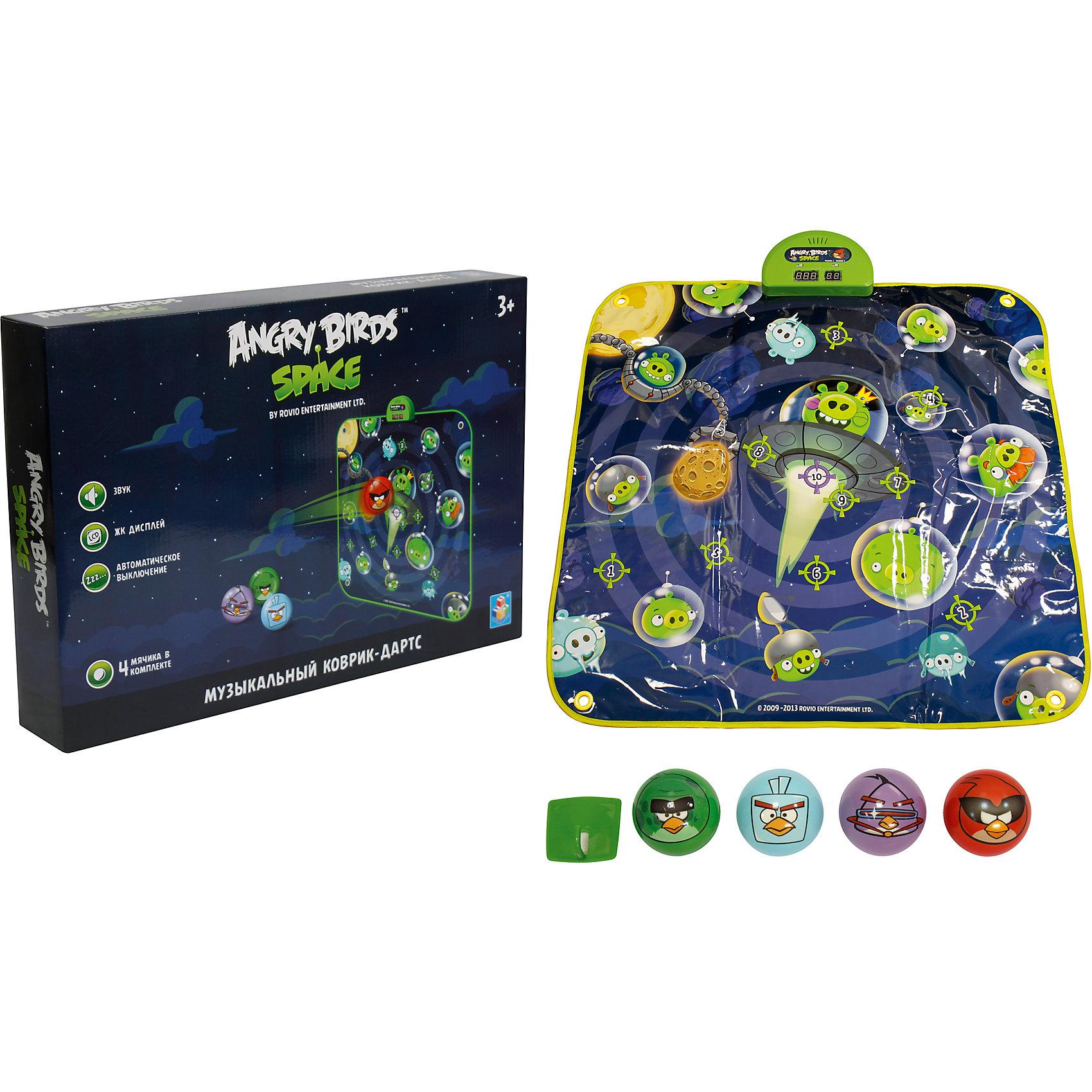 Музыкальный коврик-игра дартс, 4 мячика, Angry BirdsВсе дети обожают дартс! Сделать попадание в цель занятие веселее помогут герои игры Angry Birds. Яркий музыкальный коврик с их изображением и мячики позволяют играть на различных уровнях сложности. При попадании в цель раздастся звуковой сигнал - мелодии и звуки из популярной игры Angry Birds.<br>Такой коврик обязательно порадует ребенка! Игра с ним помогает детям развивать координацию движений и ловкость. Коврик сделан из качественных и безопасных для ребенка материалов.<br><br>Дополнительная информация:<br><br>цвет: разноцветный;<br>размер: 90 х 90 см;<br>вес: 900 г;<br>комплектация: коврик, 4 мячика;<br>работает от батареек.<br><br>Музыкальный коврик-игру,  дартс, 4 мячика, Angry Birds можно купить в нашем магазине.<br><br>Ширина мм: 470<br>Глубина мм: 330<br>Высота мм: 80<br>Вес г: 1083<br>Возраст от месяцев: 36<br>Возраст до месяцев: 2147483647<br>Пол: Унисекс<br>Возраст: Детский<br>SKU: 4916377