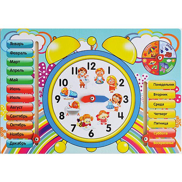 Обучающая доска «Часы»Окружающий мир<br>Малыши стремятся узнавать что-то новое и учиться контактировать с окружающим пространством. Сделать процесс познавания мира для малышей - просто! Яркая обучающая доска «Часы» поможет ребенку легко запомнить месяцы, времена года, дни недели и научиться определять время.<br>Эта доска надолго займет ребенка! Игра с ней помогает детям развивать мелкую моторику, внимательность и познавать мир. Обучающая игрушка сделана из качественных и безопасных для ребенка материалов - натурального дерева.<br><br>Дополнительная информация:<br><br>цвет: разноцветный;<br>размер:  27 х 19,5 х 0,8 см;<br>вес: 220 г;<br>материал: дерево.<br><br>Обучающую доску «Часы» можно купить в нашем магазине.<br>Ширина мм: 280; Глубина мм: 200; Высота мм: 5; Вес г: 220; Возраст от месяцев: 36; Возраст до месяцев: 2147483647; Пол: Унисекс; Возраст: Детский; SKU: 4916393;