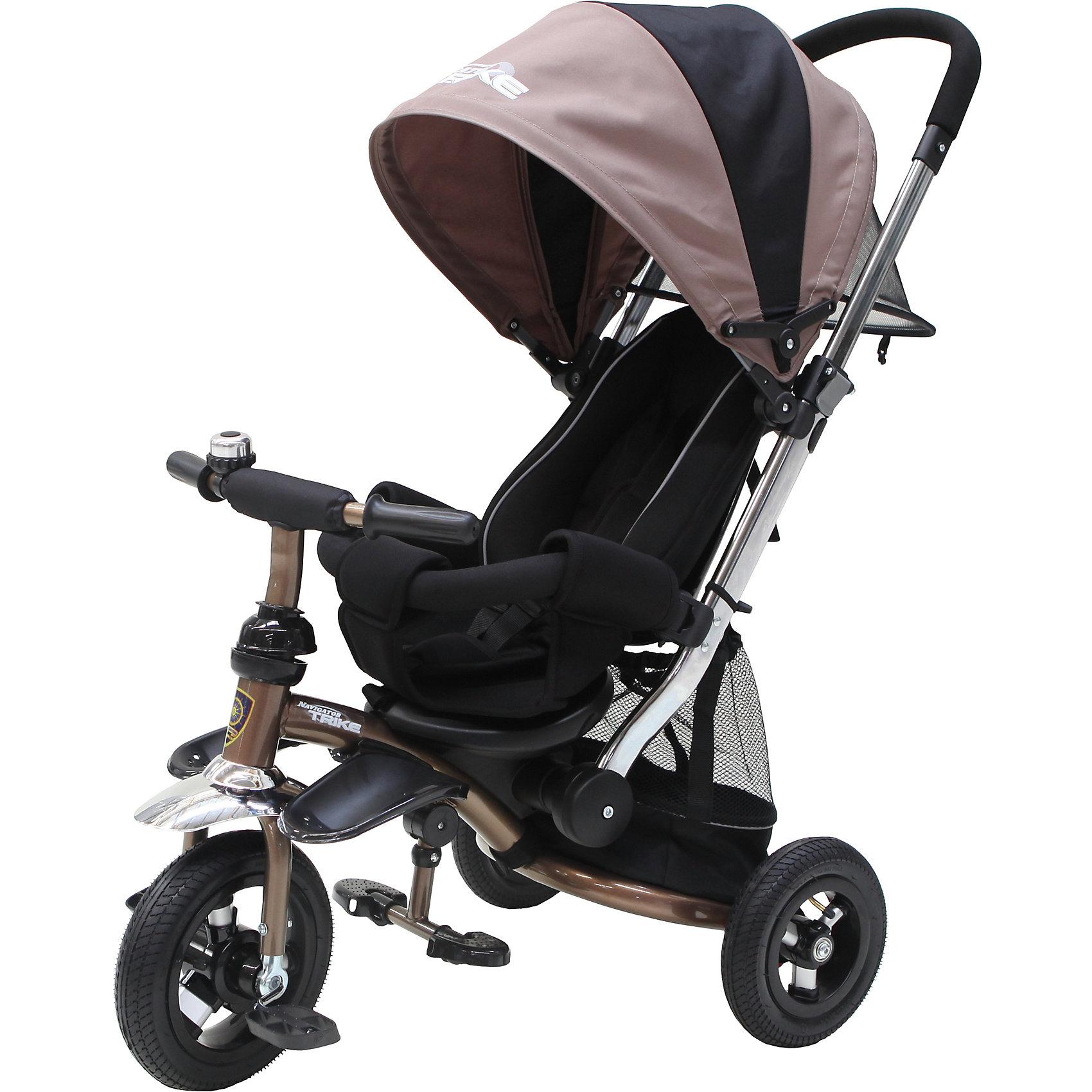 Трехколесный велосипед Navigator, кофейно-черныйКто из малышей не любит кататься на велосипеде?! Сделать катание веселее поможет этот велосипед. На велосипеде есть ручка для родителей, управление рулем, подставки для ног, переднее крыло, ремни безопасности, страховочный обод, козырек и многое другое. <br>Этот велосипед обязательно порадует ребенка! Катание на нем помогают детям развивать чувство равновесия. Велосипед сделан из качественных и безопасных для ребенка материалов.<br><br>Дополнительная информация:<br><br>цвет: кофейно-черный;<br>размер: 60 х 40 х 27 см;<br>вес: 12 кг;<br>управление рулем;<br>подставки для ног;<br>ремни безопасности;<br>страховочный обод;<br>козырек;<br>задняя корзина;<br>диаметр колес: 10 -  8 дюймов;<br>материал: пластик, металл, текстиль.<br><br>Детский трехколесный велосипед, Navigator, можно купить в нашем магазине.<br><br>Ширина мм: 620<br>Глубина мм: 290<br>Высота мм: 400<br>Вес г: 12400<br>Возраст от месяцев: 12<br>Возраст до месяцев: 2147483647<br>Пол: Унисекс<br>Возраст: Детский<br>SKU: 4916420