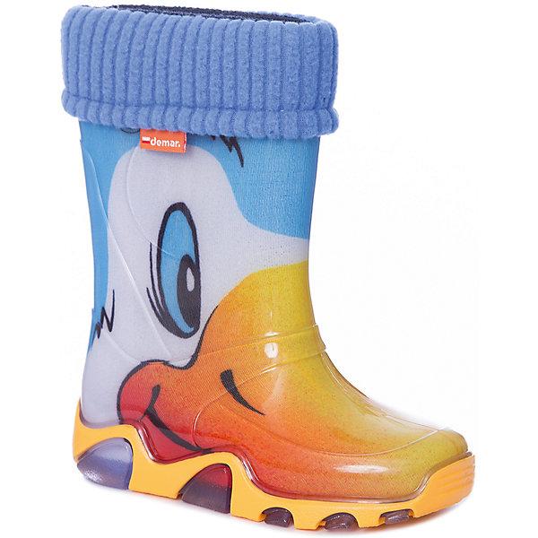 Сапоги  DEMARРезиновые сапоги<br>Сапоги детские от известной марки DEMAR.<br><br>DEMAR - бренд который уже давно завоевал сердца покупателей.  Обувь данной марки отличается  европейским качеством и удобством, и также имеет свой собственный стиль. <br>Данная модель имеет съёмный утеплённый  чулок, выполнена из материала ЭВА - очень легкого и гибкого. <br><br>Состав: верх - ПВХ, подкладка - текстильный материал, подошва -ПВХ.<br>Ширина мм: 257; Глубина мм: 180; Высота мм: 130; Вес г: 420; Цвет: белый; Возраст от месяцев: 36; Возраст до месяцев: 48; Пол: Унисекс; Возраст: Детский; Размер: 22/23,24/25,26/27; SKU: 4916619;