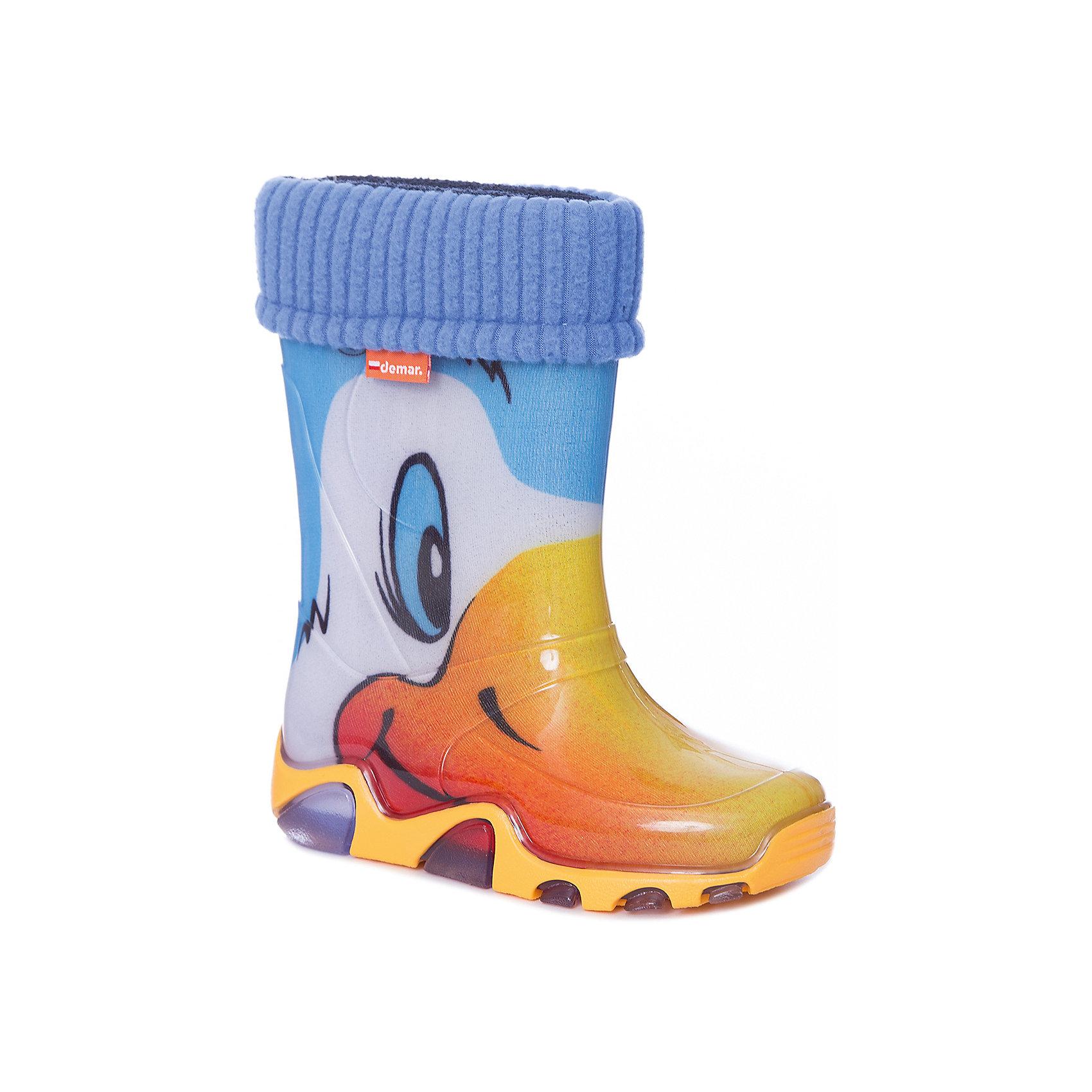 Сапоги  DEMARРезиновые сапоги<br>Сапоги детские от известной марки DEMAR.<br><br>DEMAR - бренд который уже давно завоевал сердца покупателей.  Обувь данной марки отличается  европейским качеством и удобством, и также имеет свой собственный стиль. <br>Данная модель имеет съёмный утеплённый  чулок, выполнена из материала ЭВА - очень легкого и гибкого. <br><br>Состав: верх - ПВХ, подкладка - текстильный материал, подошва -ПВХ.<br><br>Ширина мм: 257<br>Глубина мм: 180<br>Высота мм: 130<br>Вес г: 420<br>Цвет: белый<br>Возраст от месяцев: 36<br>Возраст до месяцев: 48<br>Пол: Унисекс<br>Возраст: Детский<br>Размер: 26/27,22/23,24/25<br>SKU: 4916619