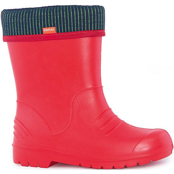 Резиновые сапоги  Dino для девочки DEMARРезиновые сапоги<br>Характеристики товара:<br><br>• цвет: красный<br>• внешний материал: ЭВА<br>• внутренний материал: текстиль<br>• стелька: ворсин<br>• подошва: ЭВА<br>• сезон: демисезон<br>• температурный режим: от 0 до +20<br>• съемный внутренний сапожок<br>• непромокаемые<br>• подошва не скользит<br>• анатомические <br>• высокие<br>• страна бренда: Польша<br>• страна изготовитель: Польша<br><br>Красные резиновые сапоги для девочки Demar сделаны из плотного надежного материала. Устойчивая подошва с протектором не скользит. <br><br>Есть съемный сапожок. Непромокаемая детская обувь поможет сохранить ноги в тепле и сухости. <br><br>Резиновые сапоги для девочки Demar (Демар) можно купить в нашем интернет-магазине.<br>Ширина мм: 257; Глубина мм: 180; Высота мм: 130; Вес г: 420; Цвет: красный; Возраст от месяцев: 21; Возраст до месяцев: 36; Пол: Женский; Возраст: Детский; Размер: 24/25,36/37,22/23,26/27,28/29,30/31,34/35,32/33; SKU: 4916649;