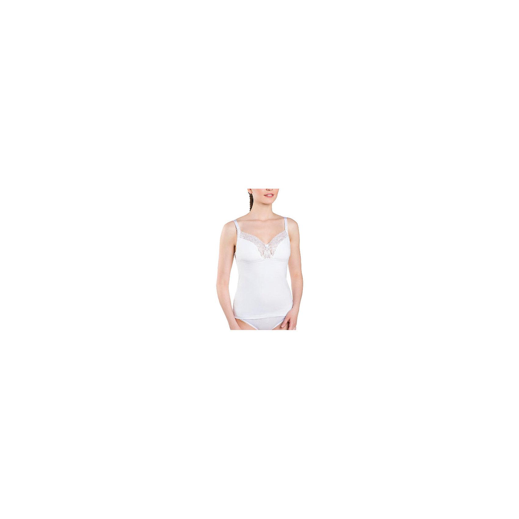 Сорочка для беременных и кормящих ФЭСТНижнее белье<br>Майка ФЭСТ для кормящих женщин рекомендована Российским обществом акушеров-гинекологов.<br>Регулируемые бретели из эластичной тесьмы позволяют выбрать наиболее удобное положение.<br>Специальный крой и глубокое декольте майки придают груди красивую форму.<br>Удобно носить впитывающие прокладки для груди.<br>Майка выполнена из нежного хлопкового полотна и украшена кружевом.<br><br><br>Состав: хлопок-95%, эластан -5%<br><br>Ширина мм: 281<br>Глубина мм: 70<br>Высота мм: 188<br>Вес г: 295<br>Цвет: белый<br>Возраст от месяцев: 0<br>Возраст до месяцев: 1188<br>Пол: Женский<br>Возраст: Детский<br>Размер: 50,46,48<br>SKU: 4917591