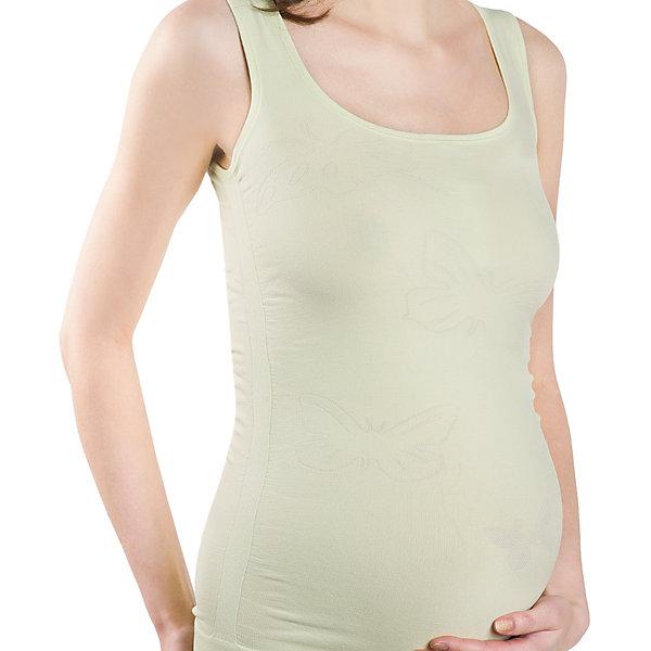 Майка бесшовная дородовая ФЭСТНижнее белье<br>Майка бесшовная для беременных женщин<br>Можно носить до и после родов.<br>Специальные переплетения по бокам и высокая эластичность изделия позволяют майке увеличиваться с ростом живота в период беременности и скрыть недостатки фигуры в послеродовой период.<br>За счет использования волокна, обладающего свойством терморегуляции, в изделии комфортно в любое время года.<br>Мягкий «дышащий» материал обеспечивает отличный воздухо- и влагообмен.<br>Модель Б-414 — с оригинальными узорами, вывязанными контрастной нитью.<br><br><br>Состав: ПА-93%, эластан-7%<br>Ширина мм: 196; Глубина мм: 10; Высота мм: 154; Вес г: 152; Цвет: зеленый; Возраст от месяцев: 0; Возраст до месяцев: 1188; Пол: Женский; Возраст: Детский; Размер: 50,46,44,48; SKU: 4918216;