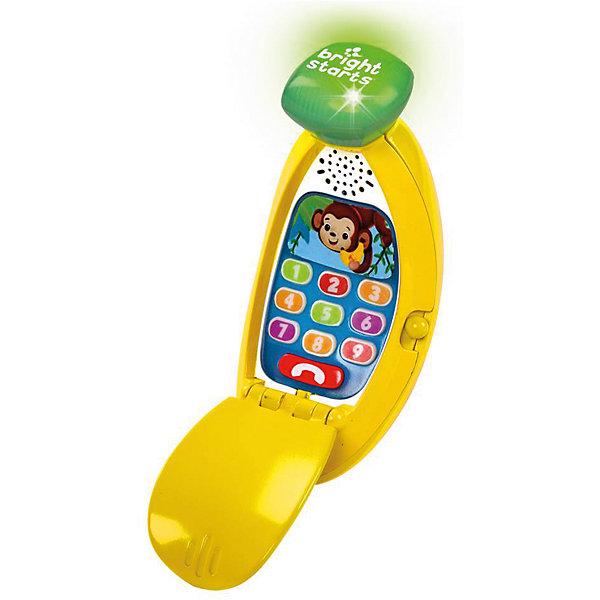 Развивающая игрушка «Банана-фон»Детские гаджеты<br>Развивающая игрушка «Банана-фон», Bright Starts<br>Развивающая игрушка «Банана-фон» от знаменитого американского бренда Bright Starts (Брайт стартс). Веселый интреактивный телефон для детей в виде банана – развеселит вашего малыша. С помощью этой игрушки малыш сможет развивать мелкую моторику пальчиков – при нажатии на кнопочки телефон издает звуки и светится. Телефон научит вашего малыша забавным мелодиям и фразам, а так же цифрам на английском, испанском и французском языках.  <br>- Материал: пластик, металл<br>- Высота: 71 см<br>- ширина 16,5 см<br>- глубина 4,6 см<br>- необходимы две батарейки типа ААА/ LR0.3 1.5V (входят в комплект)<br><br>Подробнее:<br>Для детей в возрасте: от 6 месяцев<br>Номер товара: 4918352<br>Страна производитель: Китай<br>Ширина мм: 150; Глубина мм: 150; Высота мм: 100; Вес г: 340; Возраст от месяцев: 6; Возраст до месяцев: 36; Пол: Унисекс; Возраст: Детский; SKU: 4918352;