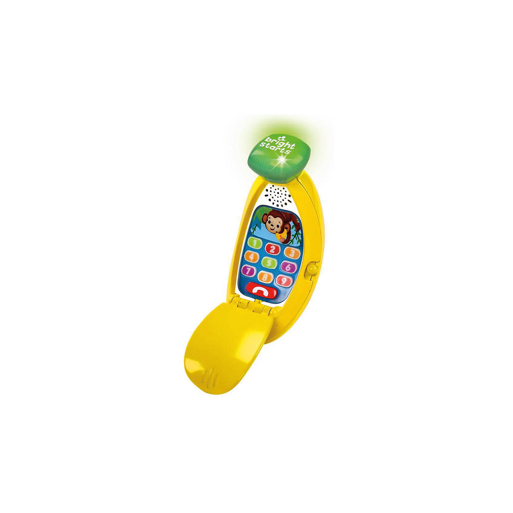Развивающая игрушка «Банана-фон»Развивающая игрушка «Банана-фон», Bright Starts<br>Развивающая игрушка «Банана-фон» от знаменитого американского бренда Bright Starts (Брайт стартс). Веселый интреактивный телефон для детей в виде банана – развеселит вашего малыша. С помощью этой игрушки малыш сможет развивать мелкую моторику пальчиков – при нажатии на кнопочки телефон издает звуки и светится. Телефон научит вашего малыша забавным мелодиям и фразам, а так же цифрам на английском, испанском и французском языках.  <br>- Материал: пластик, металл<br>- Высота: 71 см<br>- ширина 16,5 см<br>- глубина 4,6 см<br>- необходимы две батарейки типа ААА/ LR0.3 1.5V (входят в комплект)<br><br>Подробнее:<br>Для детей в возрасте: от 6 месяцев<br>Номер товара: 4918352<br>Страна производитель: Китай<br><br>Ширина мм: 150<br>Глубина мм: 150<br>Высота мм: 100<br>Вес г: 340<br>Возраст от месяцев: 6<br>Возраст до месяцев: 36<br>Пол: Унисекс<br>Возраст: Детский<br>SKU: 4918352