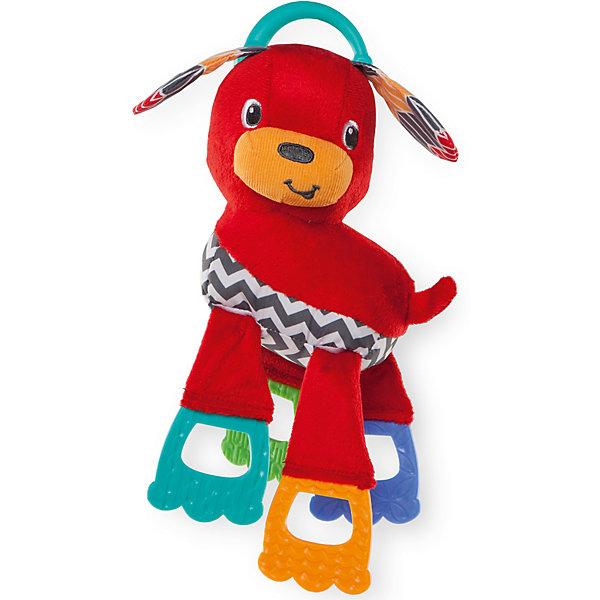 Развивающая игрушка «Щенок», Bright StartsИгрушки для новорожденных<br>Развивающая игрушка «Щенок» от знаменитого американского бренда Bright Starts (Брайт стартс). Яркая и веселая игрушка в виде щенка изготовленного из разного вида материала делает игру малыша еще интереснее! Ушки шуршат, ножки являются прорезывателями и изготовлены из материала способствующиему развитию зубок, а также кусательных и жевательных рефлексов. Игрушка поможет развить звуковое, цветовое и тактильное восприятие ребенка. Кроме того, у нее имеется удобное крепление, что позволяет закрепить ее на коляску или переноску. <br>- Дополнительная информация:<br>- Материал: пластик, текстиль<br>- Размер 12,5 * 8,5 * 25,5 см.<br><br>Развивающую игрушку «Щенок» Bright Starts можно купить в нашем интернет-магазине.<br><br>Подробнее:<br>• Для детей в возрасте: от 0 месяцев до 1 года<br>• Номер товара: 4918356<br>Страна производитель: Китай<br>Ширина мм: 158; Глубина мм: 89; Высота мм: 269; Вес г: 149; Возраст от месяцев: 0; Возраст до месяцев: 36; Пол: Унисекс; Возраст: Детский; SKU: 4918356;