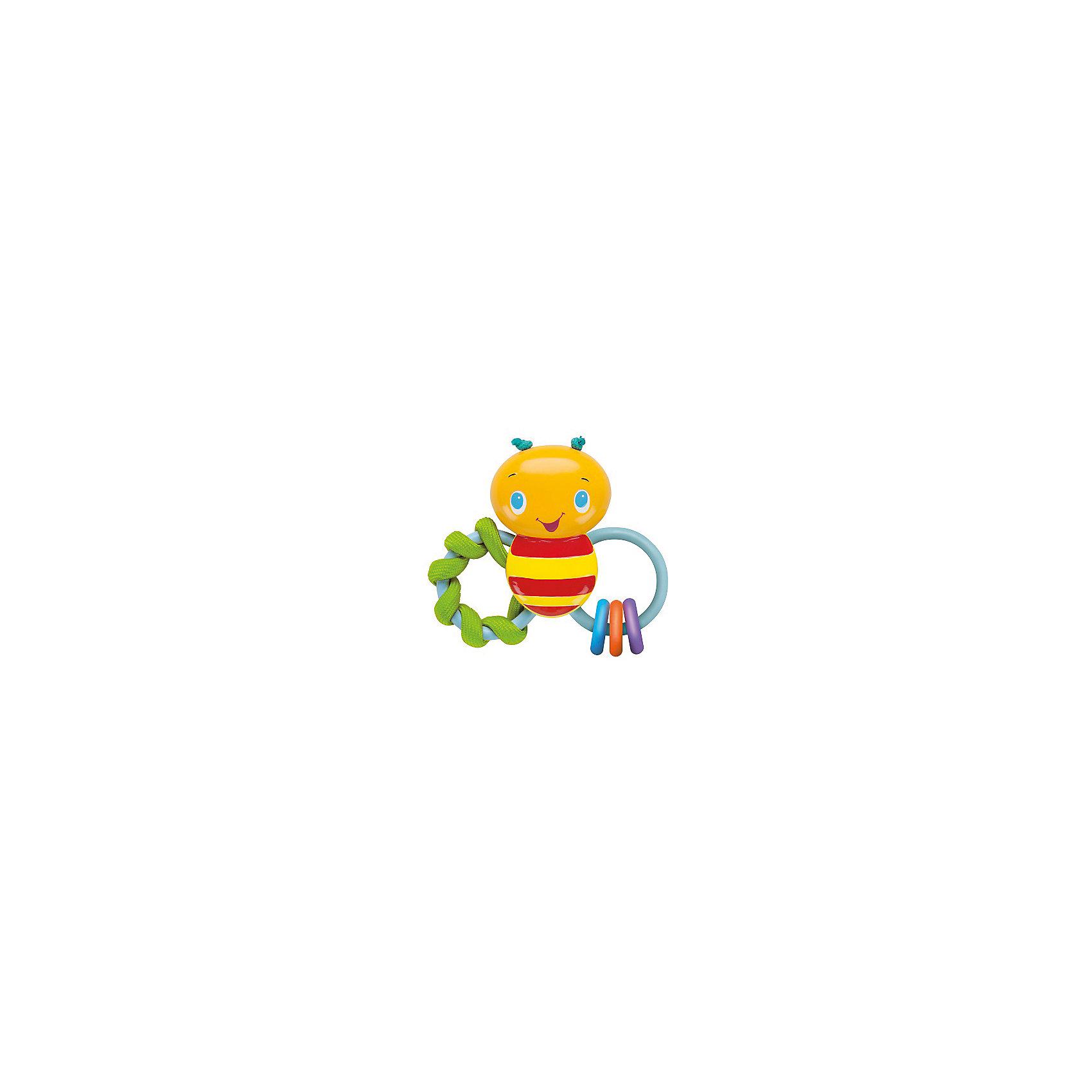 Погремушка Пчелка, Bright StartsПрорезыватели<br>Погремушка Пчелка от знаменитого американского бренда Bright Starts (Брайт стартс). Яркая и веселая погремушка в виде пчелки изготовленной из разного вида материала сделает игру малыша еще интереснее! Два колечка выполнены в виде крылышек, на одном из них текстильная спиралька, которая поможет развить тактильное восприятие малыша, а на другом крылышке три колечка, изготовленнных из высококачественной резины, поможет прорезаться зубкам и развить жевательные и кусательные рефлексы. Цветная пчелка так еще и погремушка, это поможет развить звуковое и цветовое восприятие ребенка. <br>- Дополнительная информация:<br>- Материал: пластик, резина, текстиль<br>- Размер 13 * 12 * 4 см.<br><br>Погремушку Пчелка, Bright Starts можно купить в нашем интернет-магазине.<br><br>Подробнее:<br>• Для детей в возрасте: от 0 месяцев до 1 года<br>• Номер товара: 4918357<br>Страна производитель: Китай<br><br>Ширина мм: 142<br>Глубина мм: 193<br>Высота мм: 36<br>Вес г: 104<br>Возраст от месяцев: 0<br>Возраст до месяцев: 36<br>Пол: Унисекс<br>Возраст: Детский<br>SKU: 4918357
