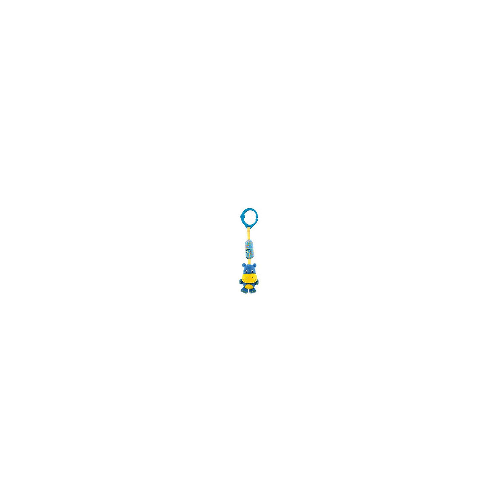 Развивающая игрушка Звонкий дружок, Гиппопотам, Bright StartsРазвивающие игрушки<br>Развивающая игрушка Звонкий дружок, Гиппопотам от знаменитого американского бренда Bright Starts (Брайт стартс). Яркая и веселая плюшевая игрушка в виде гиппопотама изготовленного из разного типа текстур делает игру малыша еще интереснее! Гиппопотам издает звенящие звуки, а если за него потянуть, то он будет вибрировать. Игрушка поможет развить звуковое, цветовое и тактильное восприятие ребенка. Кроме того, у нее имеется удобное крепление, что позволяет закрепить ее на коляску, переноску или интерактивный коврик.<br>- Дополнительная информация:<br>- Материал: пластик, текстиль<br>- Размер 8 * 5,5 * 25 см.<br><br>Развивающую игрушку «Звонкий дружок, Гиппопотам, Bright Starts можно купить в нашем интернет-магазине.<br><br>Подробнее:<br>• Для детей в возрасте: от 0 месяцев до 1 года<br>• Номер товара: 4918359<br>Страна производитель: Китай<br><br>Ширина мм: 90<br>Глубина мм: 280<br>Высота мм: 30<br>Вес г: 76<br>Возраст от месяцев: 0<br>Возраст до месяцев: 12<br>Пол: Унисекс<br>Возраст: Детский<br>SKU: 4918359