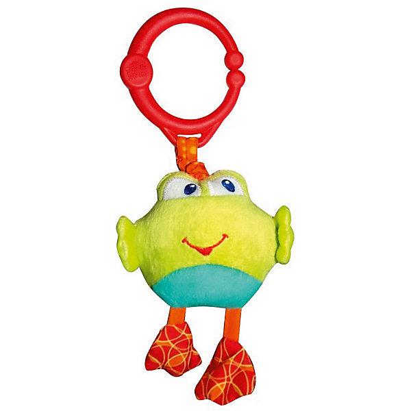 Развивающая игрушка Дрожащий дружок, Лягушка, Bright StartsИгрушки для новорожденных<br>Развивающая игрушка «Дрожащий дружок», Лягушка от знаменитого американского бренда Bright Starts (Брайт стартс). Яркая и веселая плюшевая игрушка в виде лягушонка изготовлена из разного типа текстур и делает игру малыша еще интереснее! Если потянуть за игрушку, то она будет вибрировать. Игрушка поможет развить цветовое и тактильное восприятие ребенка. Кроме того, у нее имеется удобное крепление, что позволяет повесить ее на коляску, переноску или интерактивный коврик.<br>- Дополнительная информация:<br>- Материал: пластик, текстиль<br>- Размер 24 * 10 * 6 см.<br>- Вес 250 гр.<br><br>Развивающую игрушку «Дрожащий дружок», Лягушка, Bright Starts можно купить в нашем интернет-магазине.<br><br>Подробнее:<br>• Для детей в возрасте: от 0 месяцев до 1 года<br>• Номер товара: 4918362<br>Страна производитель: Китай<br>Ширина мм: 84; Глубина мм: 260; Высота мм: 43; Вес г: 87; Возраст от месяцев: 0; Возраст до месяцев: 36; Пол: Унисекс; Возраст: Детский; SKU: 4918362;