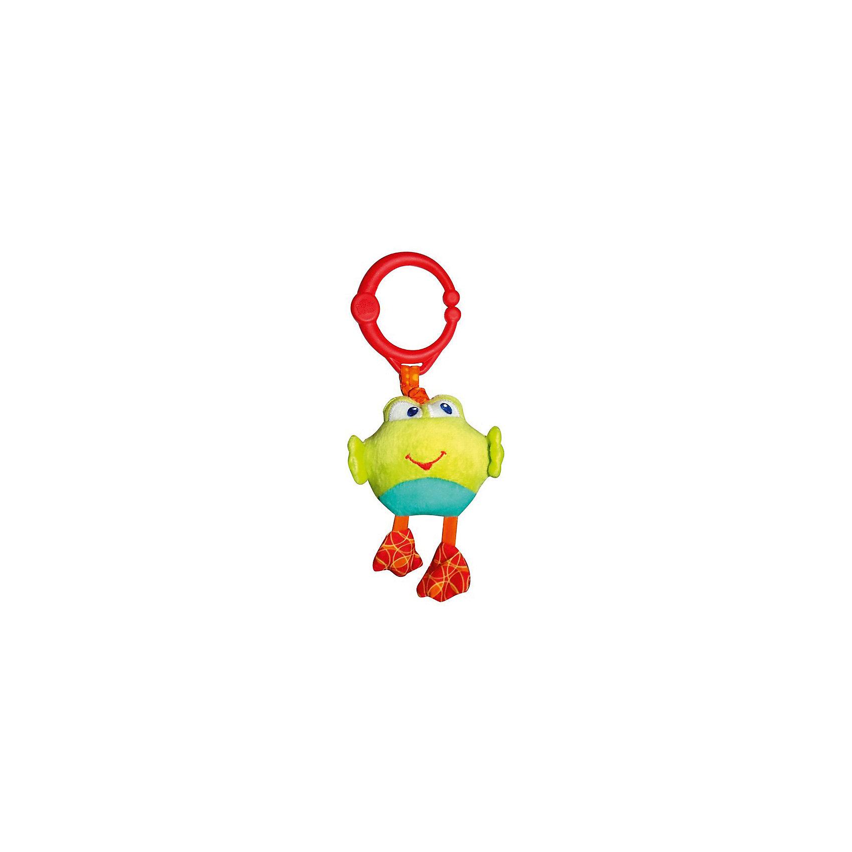 Развивающая игрушка Дрожащий дружок, Лягушка, Bright StartsРазвивающие игрушки<br>Развивающая игрушка «Дрожащий дружок», Лягушка от знаменитого американского бренда Bright Starts (Брайт стартс). Яркая и веселая плюшевая игрушка в виде лягушонка изготовлена из разного типа текстур и делает игру малыша еще интереснее! Если потянуть за игрушку, то она будет вибрировать. Игрушка поможет развить цветовое и тактильное восприятие ребенка. Кроме того, у нее имеется удобное крепление, что позволяет повесить ее на коляску, переноску или интерактивный коврик.<br>- Дополнительная информация:<br>- Материал: пластик, текстиль<br>- Размер 24 * 10 * 6 см.<br>- Вес 250 гр.<br><br>Развивающую игрушку «Дрожащий дружок», Лягушка, Bright Starts можно купить в нашем интернет-магазине.<br><br>Подробнее:<br>• Для детей в возрасте: от 0 месяцев до 1 года<br>• Номер товара: 4918362<br>Страна производитель: Китай<br><br>Ширина мм: 84<br>Глубина мм: 260<br>Высота мм: 43<br>Вес г: 87<br>Возраст от месяцев: 0<br>Возраст до месяцев: 36<br>Пол: Унисекс<br>Возраст: Детский<br>SKU: 4918362