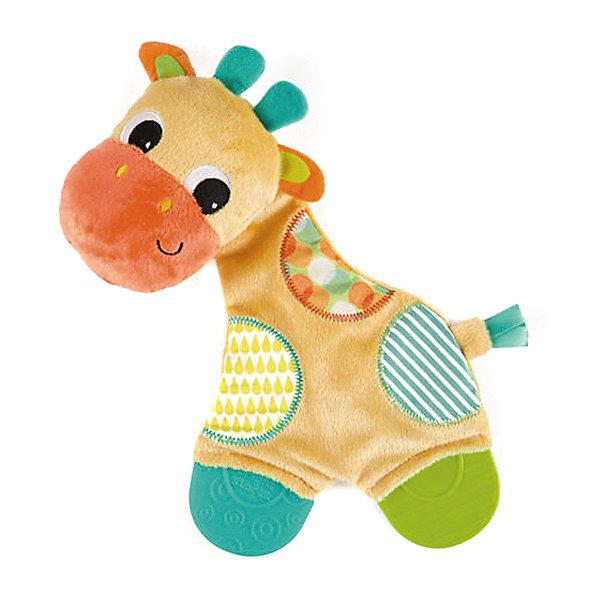 Игрушка «Самый мягкий друг» с прорезывателями, Жираф, Bright StartsПустышки<br>Игрушка «Самый мягкий друг» с прорезывателями, Жираф от знаменитого американского бренда Bright Starts (Брайт стартс). Яркая и веселая плюшевая игрушка в виде жирафа изготовлена из разного типа текстур и делает игру малыша еще интереснее! Игрушка также является и погремушкой и издает приятный звон, тельце жирафика издает шуршание, разные на ощупь текстуры ткани и яркие цвета направлены на развитие умственной деятельности. Игрушка поможет развить звуковое, цветовое и тактильное восприятие ребенка. Кроме того, у нее имееются прорезыватели для зубок из специального рельефного материала. <br>- Дополнительная информация:<br>- Материал: пластик, текстиль, резина<br>- Размер 15 * 5 * 25 см.<br><br>Игрушку «Самый мягкий друг» с прорезывателями, Жираф, Bright Starts можно купить в нашем интернет-магазине.<br><br>Подробнее:<br>• Для детей в возрасте: от 0 месяцев до 1 года<br>• Номер товара: 4918363<br><br>Ширина мм: 170<br>Глубина мм: 280<br>Высота мм: 70<br>Вес г: 98<br>Возраст от месяцев: 0<br>Возраст до месяцев: 12<br>Пол: Унисекс<br>Возраст: Детский<br>SKU: 4918363