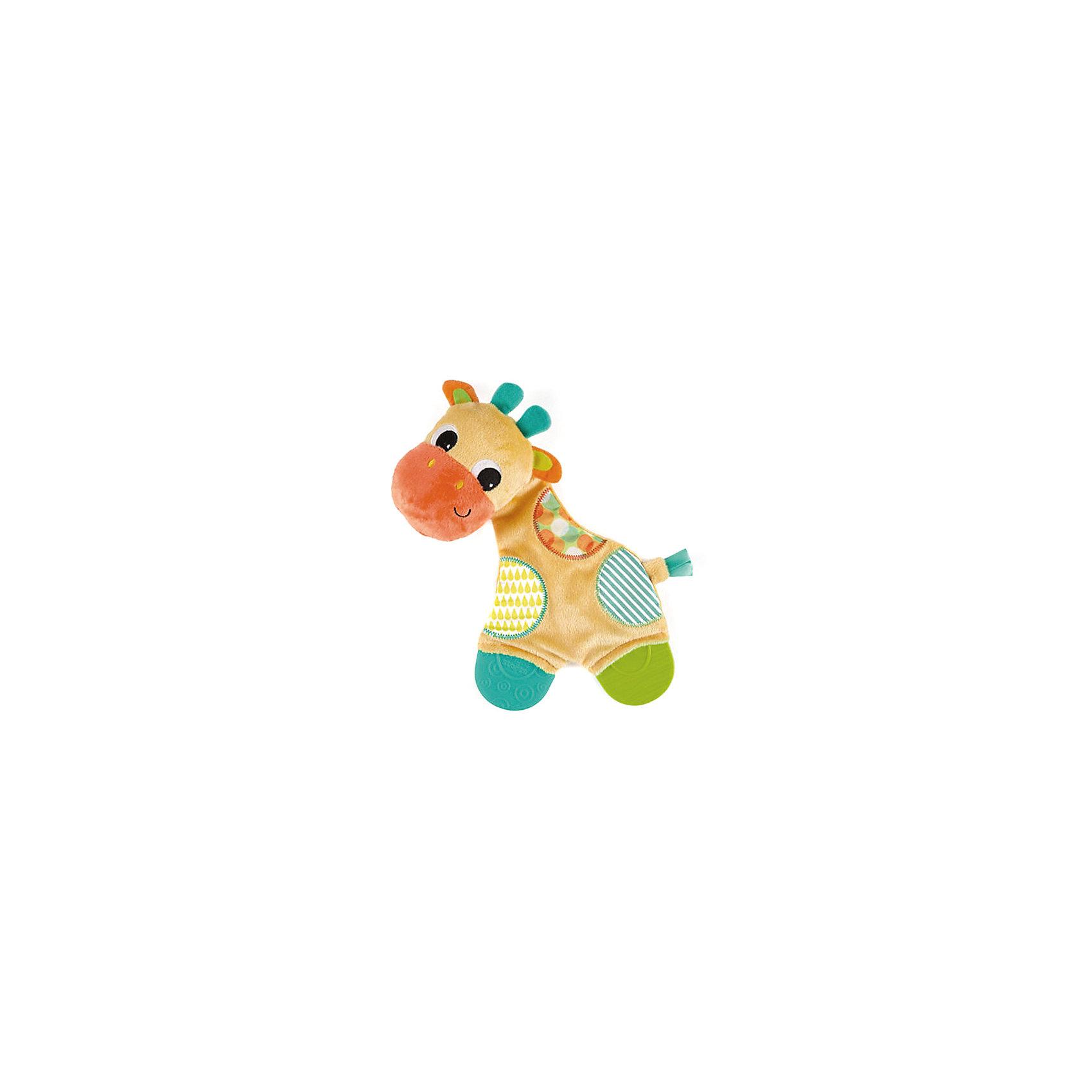 Игрушка «Самый мягкий друг» с прорезывателями, Жираф, Bright StartsПрорезыватели<br>Игрушка «Самый мягкий друг» с прорезывателями, Жираф от знаменитого американского бренда Bright Starts (Брайт стартс). Яркая и веселая плюшевая игрушка в виде жирафа изготовлена из разного типа текстур и делает игру малыша еще интереснее! Игрушка также является и погремушкой и издает приятный звон, тельце жирафика издает шуршание, разные на ощупь текстуры ткани и яркие цвета направлены на развитие умственной деятельности. Игрушка поможет развить звуковое, цветовое и тактильное восприятие ребенка. Кроме того, у нее имееются прорезыватели для зубок из специального рельефного материала. <br>- Дополнительная информация:<br>- Материал: пластик, текстиль, резина<br>- Размер 15 * 5 * 25 см.<br><br>Игрушку «Самый мягкий друг» с прорезывателями, Жираф, Bright Starts можно купить в нашем интернет-магазине.<br><br>Подробнее:<br>• Для детей в возрасте: от 0 месяцев до 1 года<br>• Номер товара: 4918363<br><br>Ширина мм: 170<br>Глубина мм: 280<br>Высота мм: 70<br>Вес г: 98<br>Возраст от месяцев: 0<br>Возраст до месяцев: 12<br>Пол: Унисекс<br>Возраст: Детский<br>SKU: 4918363
