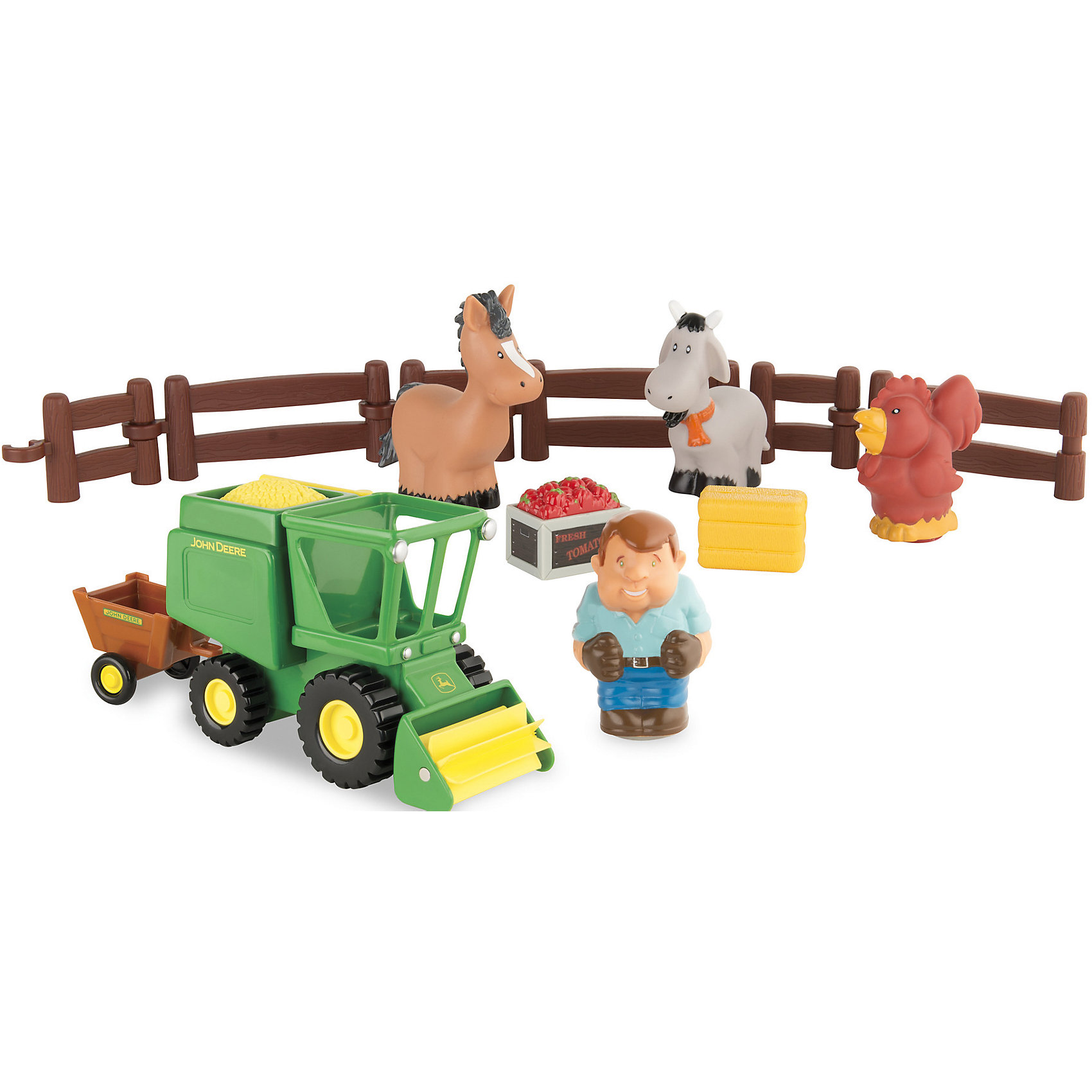 Моя первая ферма - набор уборка урожая, TOMYРазвивающие игрушки<br>Моя первая ферма - набор уборка урожая, от знаменитого британского бренда TOMY (Томи). Яркая и веселая игрушка изготовлена из высококачественного пластика и сделает игру еще интереснее! В набор вошел зеленый комбайн для того чтобысобирать урожай, в кабину помещается фигурка фермера. Три фигурки животных и составной забор из которого можно сделать отдельный загон позволят придумывать новые истории в игре. Также в комплект входит урожай морковок и пшеницы. <br>- Дополнительная информация:<br>- Набор: 4 фигурки, комбайн, аксессуары<br>- Материал: пластик<br>- Размер упаковки 29 * 14 * 40 см.<br><br>Игрушку Моя первая ферма - набор уборка урожая, TOMY можно купить в нашем интернет-магазине.<br><br>Подробнее:<br>• Для детей в возрасте: от 1 года<br>• Номер товара: 4918377<br>Страна производитель: Китай<br><br>Ширина мм: 400<br>Глубина мм: 400<br>Высота мм: 300<br>Вес г: 600<br>Возраст от месяцев: 12<br>Возраст до месяцев: 60<br>Пол: Унисекс<br>Возраст: Детский<br>SKU: 4918377