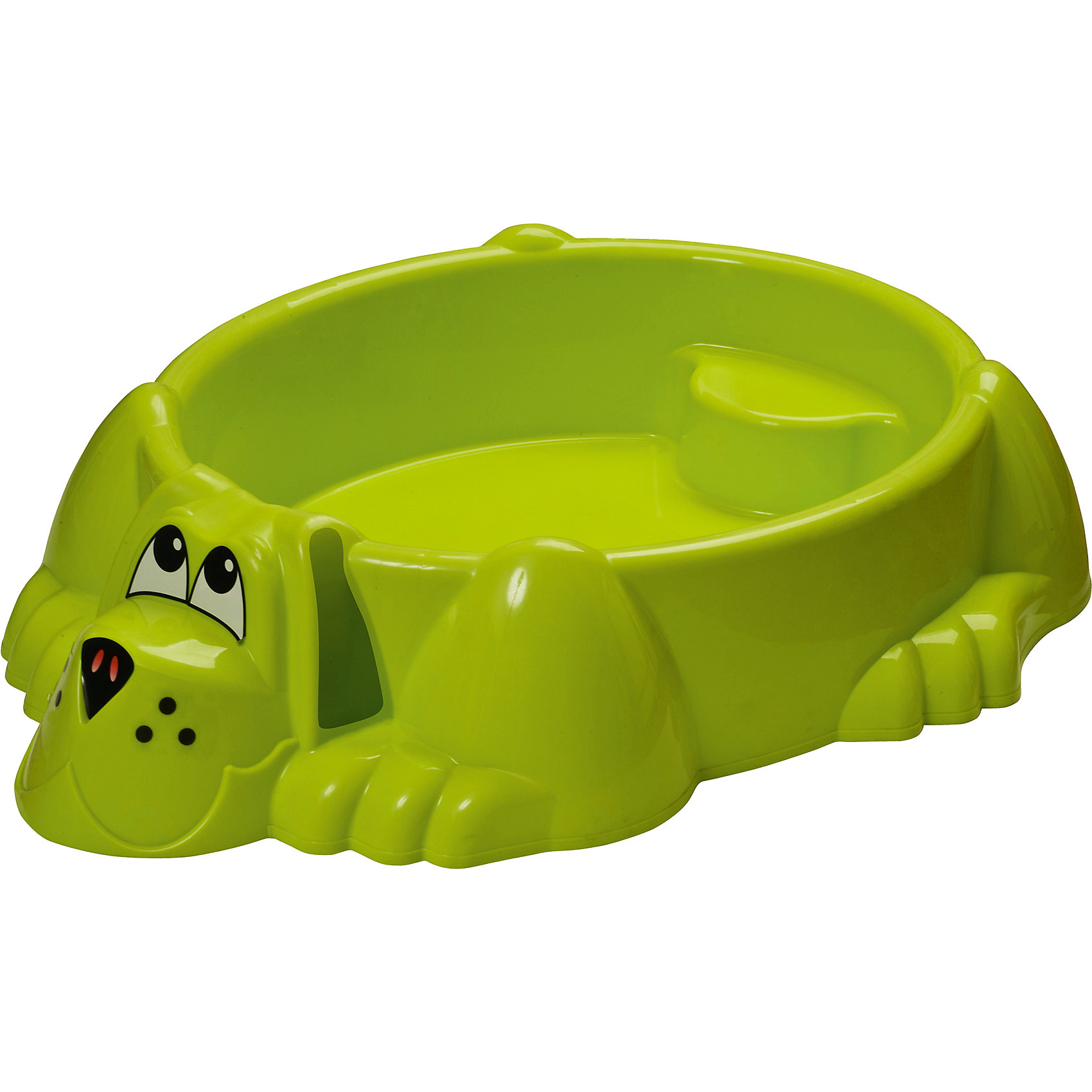 Бассейн-песочница Собачка, зеленая, MarianplastПесочница-бассейн Собачка Marianplast (Марианпласт) обязательно понравится Вашему малышу и станет его любимым местом для игр. Малыши очень любят игры в песке, куличики, а также игры с водой. Песочница Собачка совмещает в себе эти две игровые возможности, ее можно использовать и как песочницу и как минибассейн. Благодаря своим компактным<br>размерам песочницу подойдет как для игры на улице, на даче, так и в закрытом помещении.<br><br>Песочница-басейн выполнена в виде забавного песика, внутри имеются фигурные выступы (в голове и хвосте собаки), на которые малыши смогут присесть и отдохнуть. В песочнице могут разместиться двое детей. Песочница округлой формы без острых углов, высота бортика - 25 см. В комплект также входят наклейки в виде глазок, носа и ушей собачки.<br><br>Дополнительная информация:<br><br>- В комплекте: песочница-бассейн, наклейки (уши, нос, глаза собаки). <br>- Материал: высокопрочный морозостойкий пластик.<br>- Размер: 92 х 115 х 25 см.<br>- Вес: 4 кг.<br><br>Бассейн - Собачку от Marianplast (Марианпласт) можно купить в нашем интернет-магазине.<br><br>Ширина мм: 1150<br>Глубина мм: 920<br>Высота мм: 265<br>Вес г: 4040<br>Возраст от месяцев: 24<br>Возраст до месяцев: 96<br>Пол: Унисекс<br>Возраст: Детский<br>SKU: 4918444