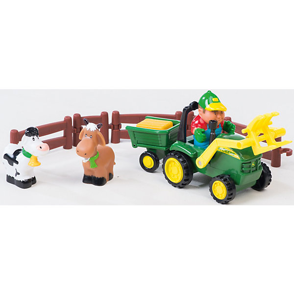 Игровой набор Погрузка урожая, Tomy, John DeereМашинки<br>Малыши стремятся узнавать что-то новое и учиться контактировать с окружающим пространством. Сделать процесс познавания мира для малышей - просто! Оригинальный игровой набор Погрузка урожая понравится любителям техники, животных или сельской тематики. В него входит трактор, фигурки фермера, коровы,  лошади и аксессуары.<br>Этот набор надолго займет ребенка! Игра с ним помогает детям развивать мелкую моторику, внимательность и познавать мир. Обучающая игрушка сделана из качественных и безопасных для ребенка материалов.<br><br>Дополнительная информация:<br><br>цвет: разноцветный;<br>размер упаковки:  23 х 14 х 33 см;<br>комплектация: трактор, фигурки фермера, коровы,  лошади и аксессуары;<br>вес: 155 г;<br>материал: пластик.<br><br>Погрузка урожая, Tomy, John Deere можно купить в нашем магазине.<br><br>Ширина мм: 330<br>Глубина мм: 140<br>Высота мм: 230<br>Вес г: 155<br>Возраст от месяцев: 36<br>Возраст до месяцев: 2147483647<br>Пол: Унисекс<br>Возраст: Детский<br>SKU: 4918476