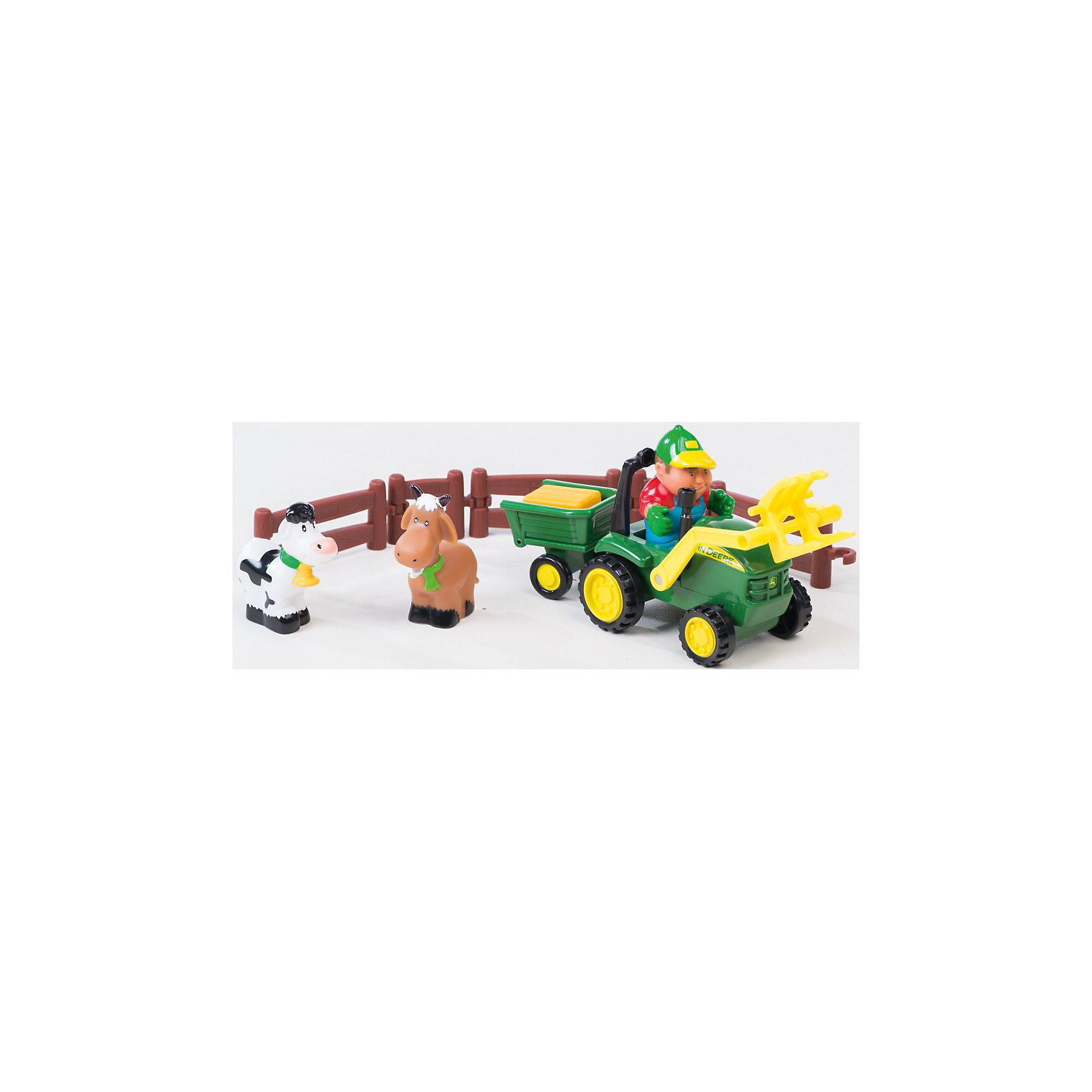TOMY Игровой набор Погрузка урожая, Tomy, John Deere машинки tomy трактор john deere 6830 с двойными колесами и фронтальным погрузчиком