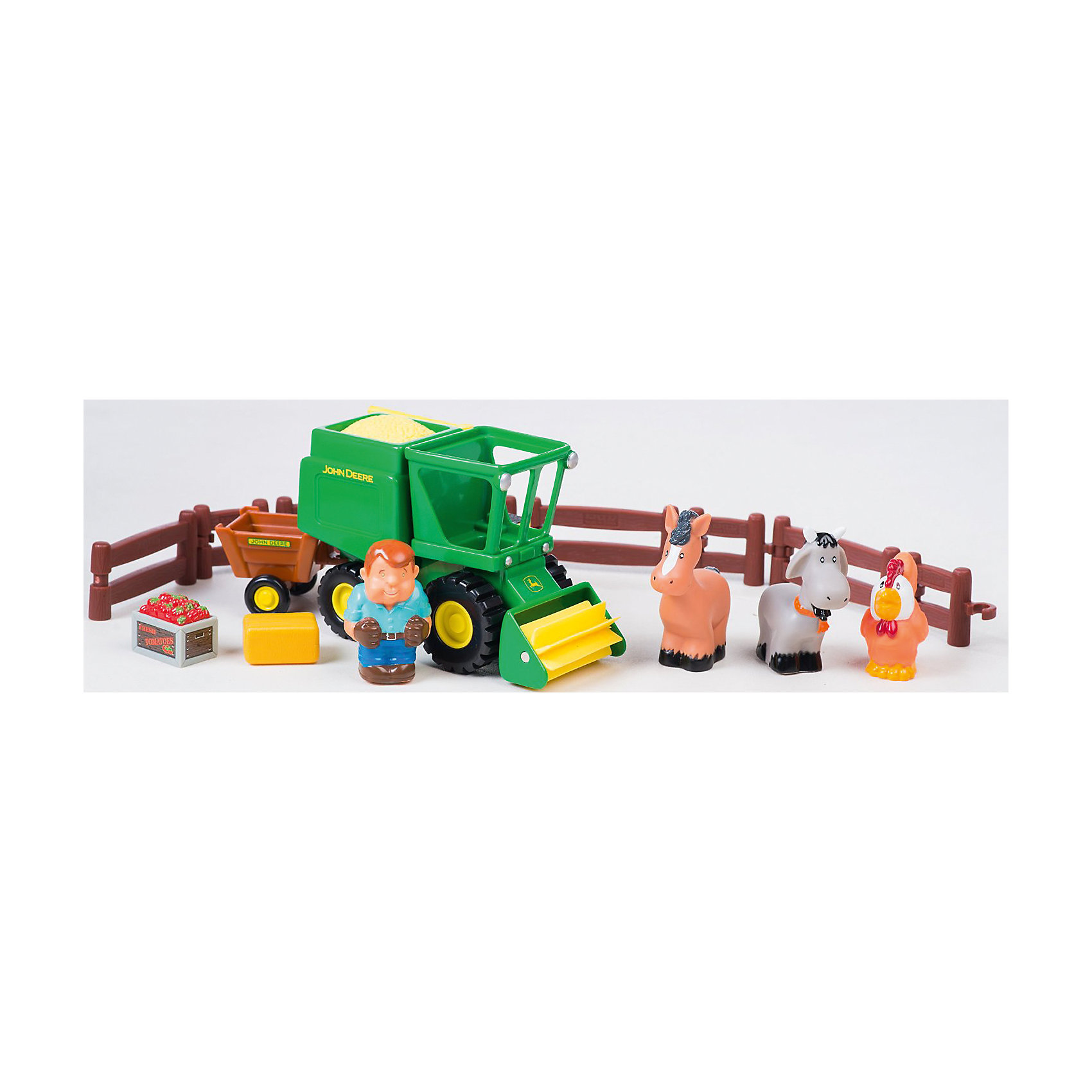 Игровой набор Уборка урожая, John Deere, TomyМашинки<br>Малыши стремятся узнавать что-то новое и учиться контактировать с окружающим пространством. Сделать процесс познавания мира для малышей - просто! Оригинальный игровой набор Погрузка урожая понравится любителям техники, животных или сельской тематики. В него входит трактор, фигурки фермера, коровы,  лошади, петуха и аксессуары.<br>Этот набор надолго займет ребенка! Игра с ним помогает детям развивать мелкую моторику, внимательность и познавать мир. Обучающая игрушка сделана из качественных и безопасных для ребенка материалов.<br><br>Дополнительная информация:<br><br>цвет: разноцветный;<br>размер упаковки:  40 х 14 х 29 см;<br>комплектация: трактор, фигурки фермера, коровы, петуха, лошади и аксессуары;<br>вес: 233 г;<br>материал: пластик.<br><br>Погрузка урожая, Tomy, John Deere можно купить в нашем магазине.<br><br>Ширина мм: 400<br>Глубина мм: 140<br>Высота мм: 290<br>Вес г: 223<br>Возраст от месяцев: 36<br>Возраст до месяцев: 2147483647<br>Пол: Унисекс<br>Возраст: Детский<br>SKU: 4918477