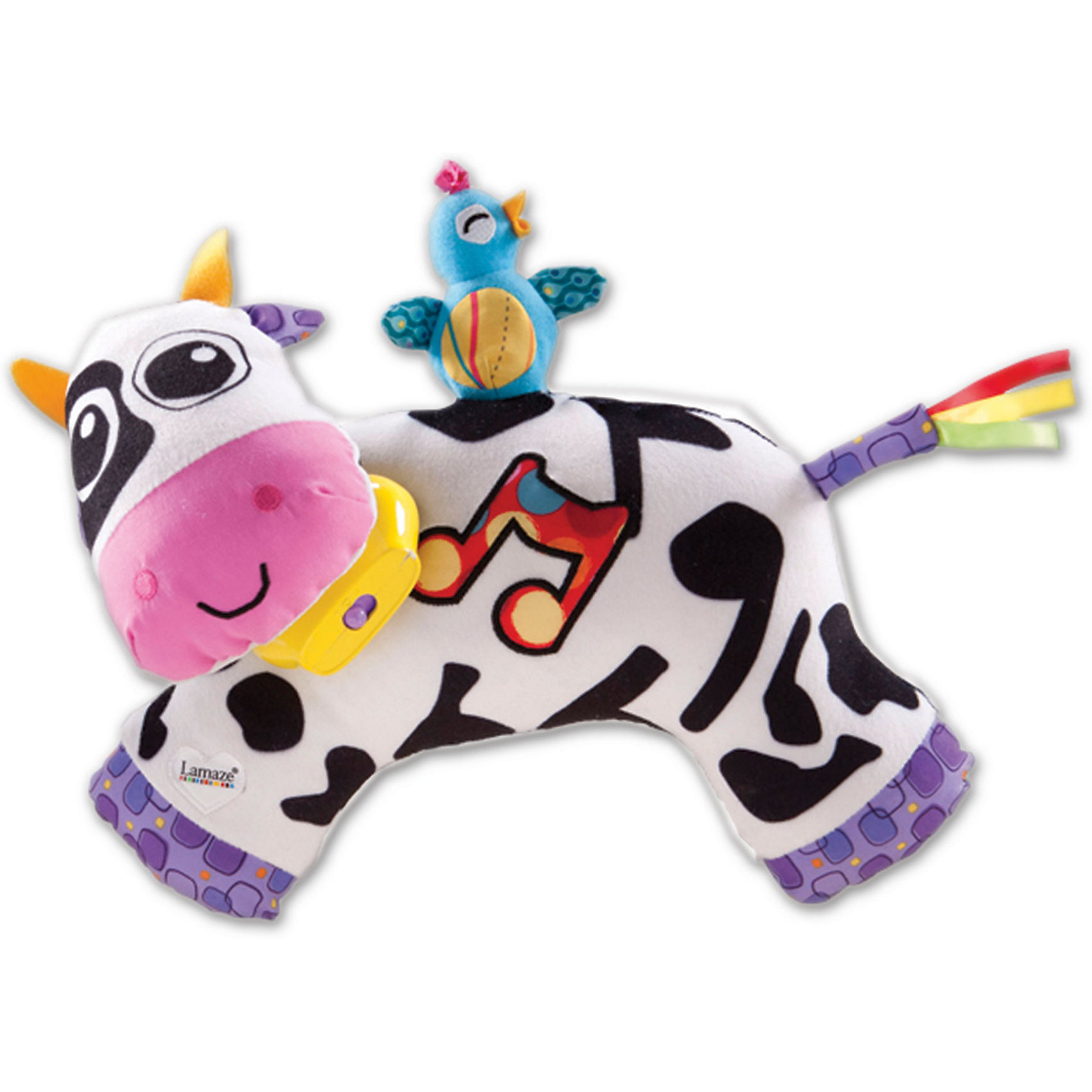 Мягкая игрушка Музыкальная Коровка, звук-мелодия, Tomy LamazeЗвери и птицы<br>Малыши очень любознательны и общительны, они каждый день узнают что-то новое. Сделать процесс познавания мира для малышей - просто! Яркая обучающая игрушка «Музыкальная Коровка» поможет ребенку весело  и с пользой провести время. Игрушка сделана из мягкого материала, что развивает тактильное восприятие ребенка. Оснащена разными звуковыми и световыми эффектами. Она проигрывает разные мелодии в зависимости от режима, поможет ребенку уснуть.<br>Эта коровка обязательно займет ребенка! Игра с ней помогает детям развивать мелкую моторику, внимательность и познавать мир. Игрушка сделана из качественных и безопасных для ребенка материалов.<br><br>Дополнительная информация:<br><br>цвет: разноцветный;<br>размер: 31 х 21 х 10 см;<br>работает от батареек АААх2 (в комплекте);<br>материал: текстиль.<br><br>Мягкую игрушку  Музыкальная Коровка, звук-мелодия, Tomy Lamaze можно купить в нашем магазине.<br><br>Ширина мм: 370<br>Глубина мм: 280<br>Высота мм: 130<br>Вес г: 292<br>Возраст от месяцев: -2147483648<br>Возраст до месяцев: 2147483647<br>Пол: Унисекс<br>Возраст: Детский<br>SKU: 4918482