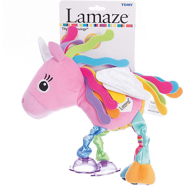 Мягкая погремушка-шуршалка Лошадка Тилли, LamazeИгрушки для новорожденных<br>Симпатичная игрушка Лошадка Тилли обязательно понравится ребенку. Игрушка сделана из мягких материалов разной фактуры, что развивает тактильное восприятие ребенка. Она дополнена погремушками и шуршащими элементами, игрушку можно повесить в коляску с помощью специального крепления.<br>Эта игрушка обязательно займет ребенка! Игра с ней помогает детям развивать мелкую моторику, внимательность и познавать мир. Обучающая игрушка сделана из качественных и безопасных для ребенка материалов.<br><br>Дополнительная информация:<br><br>цвет: разноцветный;<br>размер: 15 х 13 х 8 см;<br>материал: текстиль.<br><br>Мягкую погремушку-шуршалку  Лошадка Тилли с подвеской, Tomy Lamaze можно купить в нашем магазине.<br>Ширина мм: 190; Глубина мм: 80; Высота мм: 130; Вес г: 189; Возраст от месяцев: -2147483648; Возраст до месяцев: 2147483647; Пол: Унисекс; Возраст: Детский; SKU: 4918492;