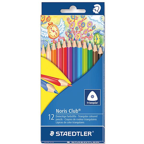 Карандаши  цветные NorisClub, 12 цвПисьменные принадлежности<br>Трехгранные цветные карандаши стандартного размера для любого возраста,  особенно их оценят дети. Специальная эргономичная форма, корректирующая ученический захват, идеально подходит для рисования и раскрашивания без усталости и усилий. Система защиты от поломки ABS (Anti-break-system) увеличивает устойчивость и сокращает ломкость грифеля. Грифели карандашей сочных насыщенных цветов. При необходимости легко можно заточить. Цветные карандаши соответствуют Европейскому стандарту EN 71 (требования безопасности к игрушкам).<br><br>Дополнительная информация: <br><br>- возраст: от 3 лет<br>- тип: 12 цветных карандашей <br>- упаковка: картонная коробка<br>- вид карандаша: простой<br>- корпус: трехгранный<br>- поверхность: бумага<br>- назначение: для рисования, для творчества, для подчеркивания<br>- материал: дерево, графит<br>- диаметр грифеля: 3 мм<br>- размер упаковки (дхшхв): 35 * 21 * 17 см<br>- вес в упаковке: 457  г <br>- страна производитель: Германия.<br><br>Набор из 12 цветных  карандашей   Noris HB  торговой марки   Staedtler  можно купить в нашем интернет-магазине.<br>Ширина мм: 200; Глубина мм: 88; Высота мм: 10; Вес г: 76; Возраст от месяцев: 60; Возраст до месяцев: 168; Пол: Унисекс; Возраст: Детский; SKU: 4918511;