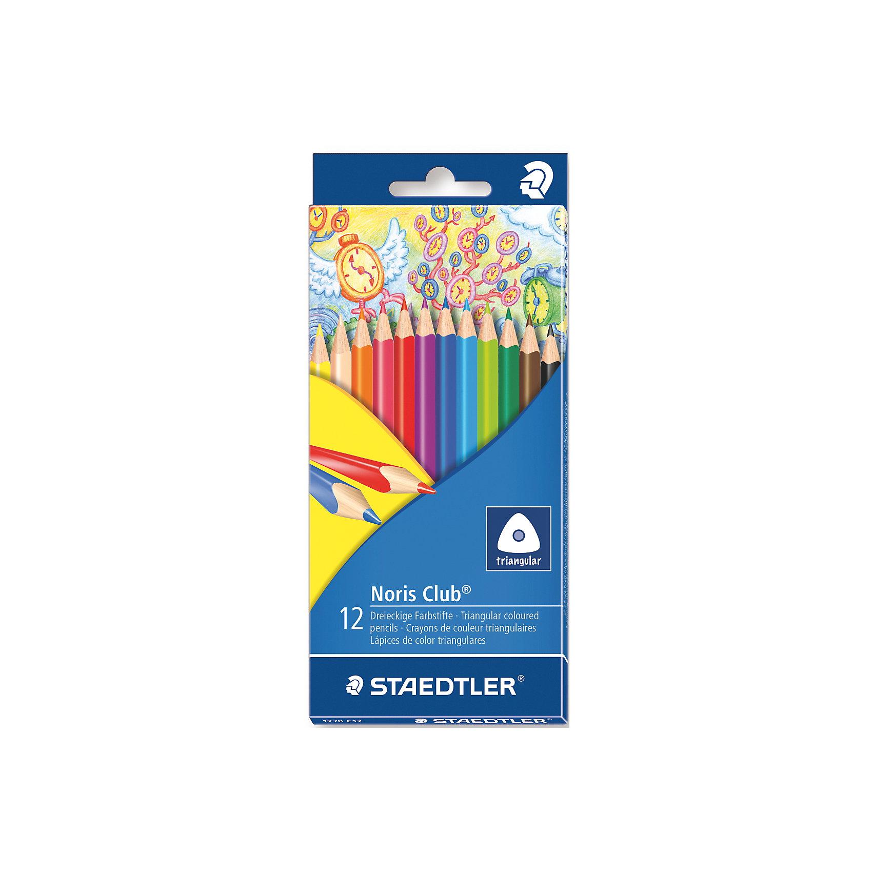 Карандаши  цветные NorisClub, 12 цвПисьменные принадлежности<br>Трехгранные цветные карандаши стандартного размера для любого возраста,  особенно их оценят дети. Специальная эргономичная форма, корректирующая ученический захват, идеально подходит для рисования и раскрашивания без усталости и усилий. Система защиты от поломки ABS (Anti-break-system) увеличивает устойчивость и сокращает ломкость грифеля. Грифели карандашей сочных насыщенных цветов. При необходимости легко можно заточить. Цветные карандаши соответствуют Европейскому стандарту EN 71 (требования безопасности к игрушкам).<br><br>Дополнительная информация: <br><br>- возраст: от 3 лет<br>- тип: 12 цветных карандашей <br>- упаковка: картонная коробка<br>- вид карандаша: простой<br>- корпус: трехгранный<br>- поверхность: бумага<br>- назначение: для рисования, для творчества, для подчеркивания<br>- материал: дерево, графит<br>- диаметр грифеля: 3 мм<br>- размер упаковки (дхшхв): 35 * 21 * 17 см<br>- вес в упаковке: 457  г <br>- страна производитель: Германия.<br><br>Набор из 12 цветных  карандашей   Noris HB  торговой марки   Staedtler  можно купить в нашем интернет-магазине.<br><br>Ширина мм: 200<br>Глубина мм: 88<br>Высота мм: 10<br>Вес г: 76<br>Возраст от месяцев: 60<br>Возраст до месяцев: 168<br>Пол: Унисекс<br>Возраст: Детский<br>SKU: 4918511