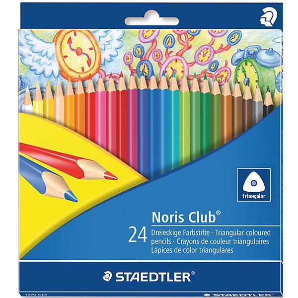 Карандаши  цветные Noris Club, 24 цвПисьменные принадлежности<br>Цветные карандаши  Noris Club 127   от торговой марки    Staedtler   помогут маленькому художнику создавать настоящие произведения искусства. Набор состоит из 24 самых основных насыщенных цветов. Изделия имеют прочный грифель и удобную шестигранную форму, которая позволяет легко их затачивать. Такие карандаши будет незаменимы в процессе обучения и для детского творчества. Набор упакован в яркую коробочку с оригинальным дизайном.<br><br>Дополнительная информация: <br><br>- возраст: от 3 лет<br>- тип: 24 цветных карандашей <br>- упаковка: картонная коробка<br>- вид карандаша: простой<br>- корпус: трехгранный<br>- поверхность: бумага<br>- назначение: для рисования, для творчества, для подчеркивания<br>- материал: дерево, грифель<br>- диаметр грифеля: 3 мм<br>- страна производитель: Германия.<br><br>Набор из 24 цветных  карандашей   Noris HB  торговой марки   Staedtler  можно купить в нашем интернет-магазине.<br>Ширина мм: 198; Глубина мм: 176; Высота мм: 10; Вес г: 164; Возраст от месяцев: 60; Возраст до месяцев: 168; Пол: Унисекс; Возраст: Детский; SKU: 4918512;