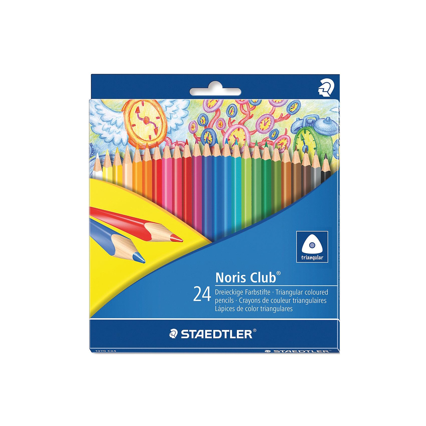 Карандаши  цветные Noris Club, 24 цвРисование<br>Цветные карандаши  Noris Club 127   от торговой марки    Staedtler   помогут маленькому художнику создавать настоящие произведения искусства. Набор состоит из 24 самых основных насыщенных цветов. Изделия имеют прочный грифель и удобную шестигранную форму, которая позволяет легко их затачивать. Такие карандаши будет незаменимы в процессе обучения и для детского творчества. Набор упакован в яркую коробочку с оригинальным дизайном.<br><br>Дополнительная информация: <br><br>- возраст: от 3 лет<br>- тип: 24 цветных карандашей <br>- упаковка: картонная коробка<br>- вид карандаша: простой<br>- корпус: трехгранный<br>- поверхность: бумага<br>- назначение: для рисования, для творчества, для подчеркивания<br>- материал: дерево, грифель<br>- диаметр грифеля: 3 мм<br>- страна производитель: Германия.<br><br>Набор из 24 цветных  карандашей   Noris HB  торговой марки   Staedtler  можно купить в нашем интернет-магазине.<br><br>Ширина мм: 198<br>Глубина мм: 176<br>Высота мм: 10<br>Вес г: 164<br>Возраст от месяцев: 60<br>Возраст до месяцев: 168<br>Пол: Унисекс<br>Возраст: Детский<br>SKU: 4918512