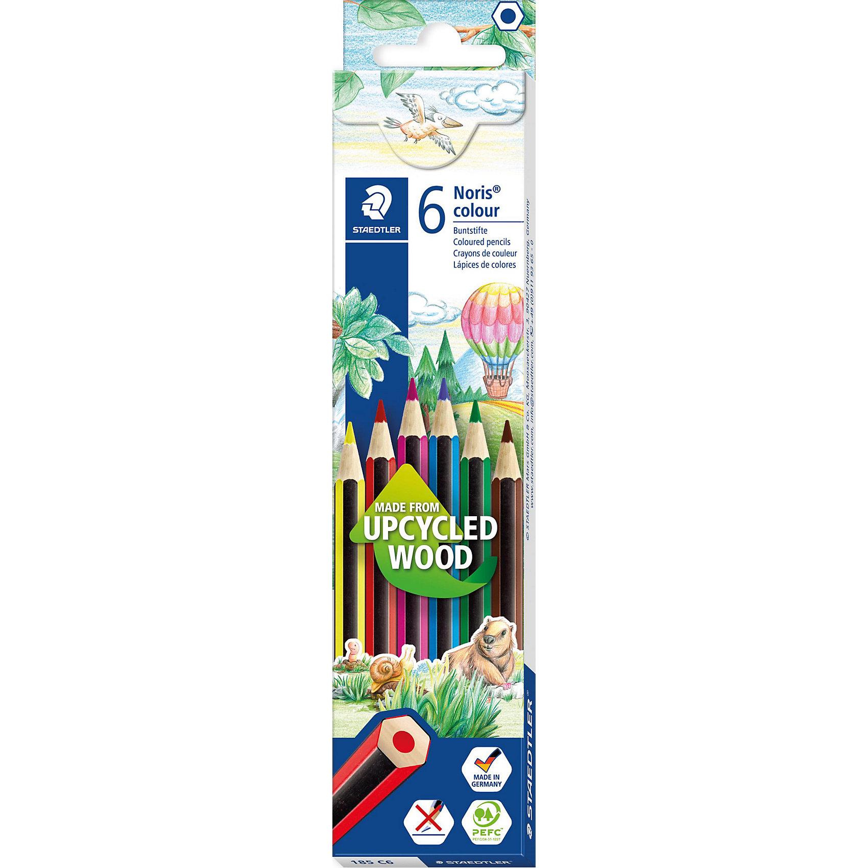 Карандаш цветные Noris Colour, 6 цвНовые цветные карандаши  Noris Color 185 из инновационного материала Wopex. <br>Сделаны из нового природного волокнистого материала: 70% древесины+пластиковый композит. <br>Высокое качество письма, рисования, эскизов. Нескользящая, бархатистая поверхность; особенно ударопрочный  корпус и грифель; гладкое письмо. Инновационный, однородный материал Wopex<br>обеспечивает исключительно гладкую и ровную заточку с любым качеством точилки. <br>Текст и рисунки легко стереть. Упаковка - 6 цветов.<br><br>Ширина мм: 99<br>Глубина мм: 45<br>Высота мм: 9<br>Вес г: 60<br>Возраст от месяцев: 60<br>Возраст до месяцев: 168<br>Пол: Унисекс<br>Возраст: Детский<br>SKU: 4918514