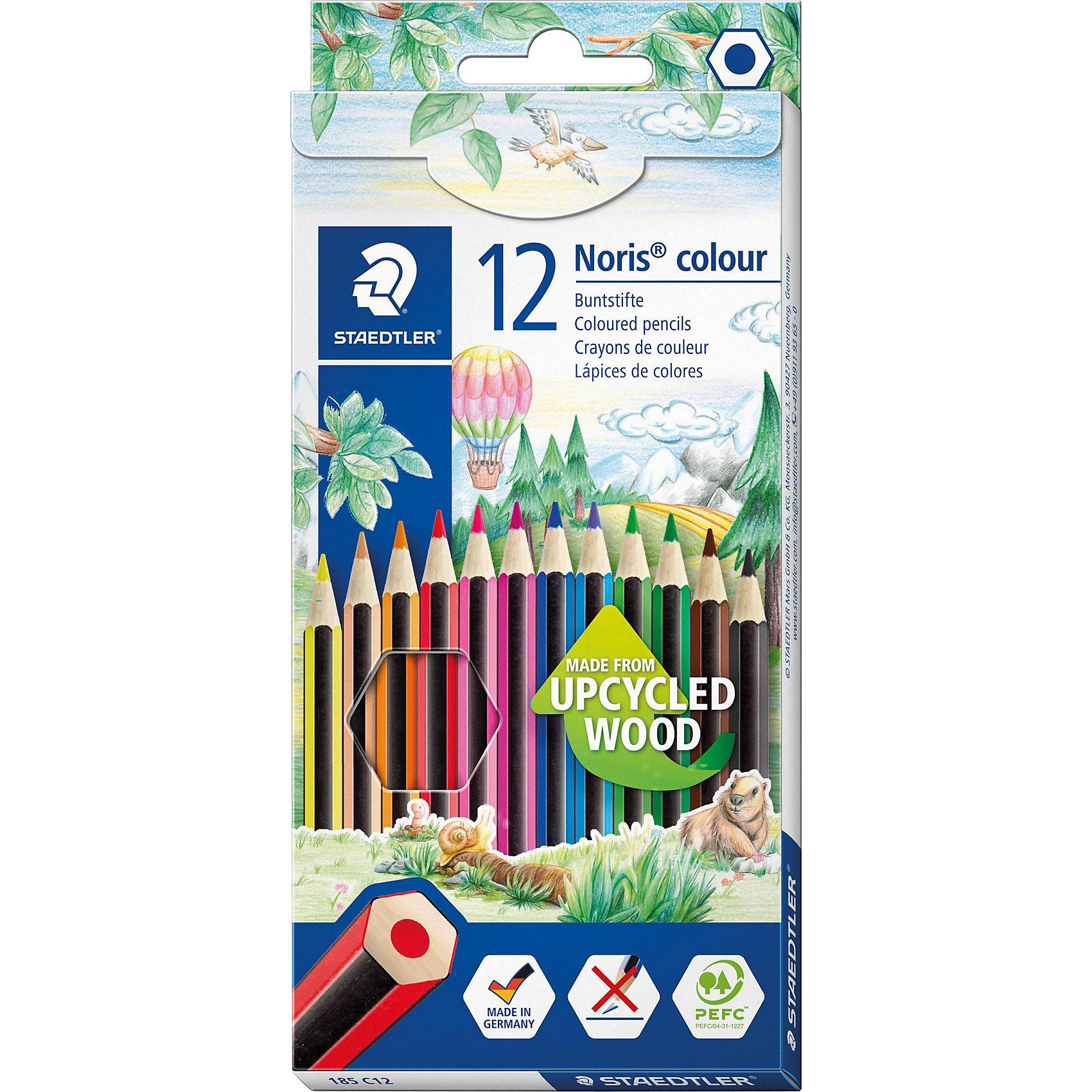 Карандаш цветные Noris Colour,  12 цвНовые цветные карандаши  Noris Color 185 из инновационного материала Wopex.<br> Сделаны из нового природного волокнистого материала: 70% древесины+пластиковый композит.<br> Высокое качество письма, рисования, эскизов.  Нескользящая, бархатистая поверхность; особенно ударопрочный корпус и грифель; гладкое письмо.  Инновационный, однородный материал Wopex обеспечивает исключительно гладкую и ровную заточку с любым качеством точилки. <br>Текст и рисунки легко стереть. Упаковка  - 12 цветов.<br><br>Ширина мм: 197<br>Глубина мм: 89<br>Высота мм: 10<br>Вес г: 112<br>Возраст от месяцев: 60<br>Возраст до месяцев: 168<br>Пол: Унисекс<br>Возраст: Детский<br>SKU: 4918515