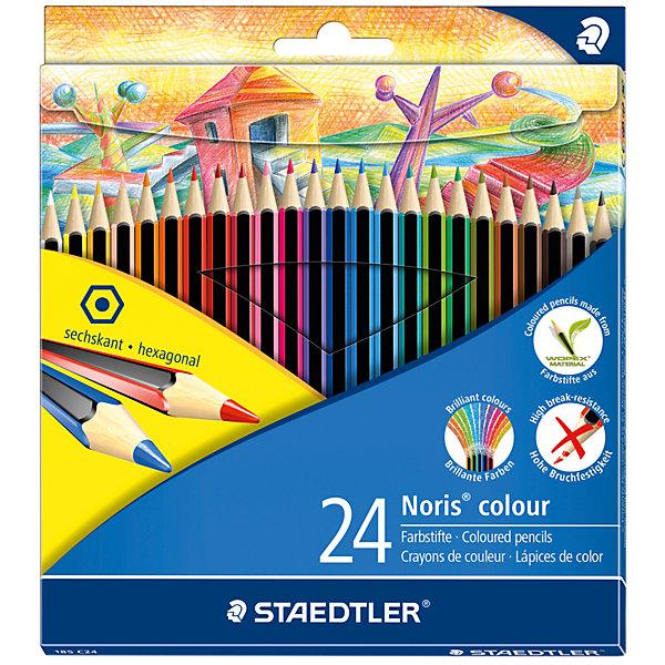 Карандаш цветные Noris Colour, 24 цвПисьменные принадлежности<br>Новые цветные карандаши  Noris Color 185 из инновационного материала Wopex.<br> Сделаны из нового природного волокнистого материала: 70% древесины+пластиковый композит. <br>Высокое качество письма, рисования, эскизов. Нескользящая, бархатистая поверхность; особенно ударопрочный корпус и грифель;<br> гладкое письмо. Инновационный, однородный материал Wopex <br>обеспечивает исключительно гладкую и ровную заточку с любым качеством точилки. <br>Текст и рисунки легко стереть. Упаковка - 24 цвета.<br>Ширина мм: 197; Глубина мм: 175; Высота мм: 9; Вес г: 244; Возраст от месяцев: 60; Возраст до месяцев: 168; Пол: Унисекс; Возраст: Детский; SKU: 4918516;