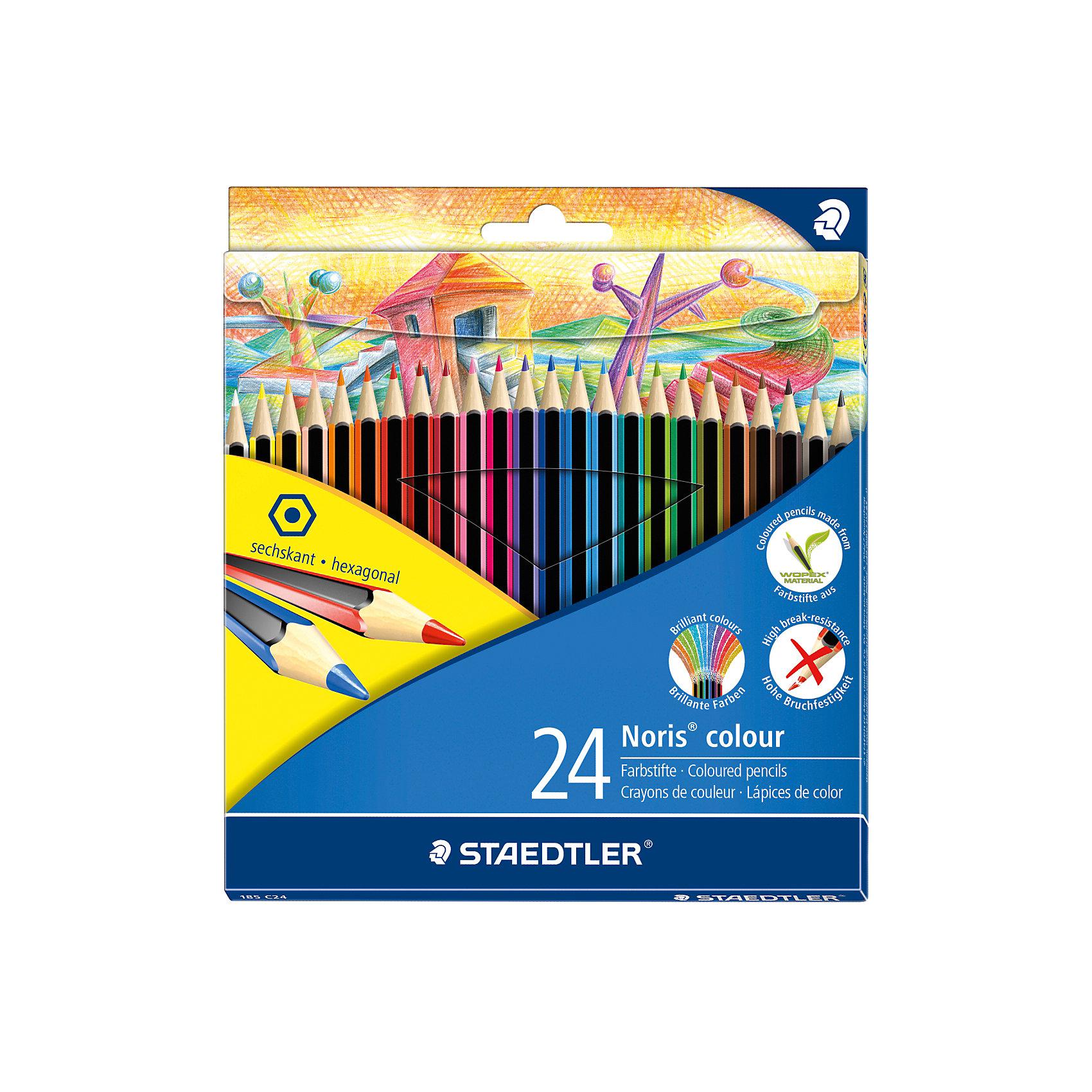 Карандаш цветные Noris Colour, 24 цвПисьменные принадлежности<br>Новые цветные карандаши  Noris Color 185 из инновационного материала Wopex.<br> Сделаны из нового природного волокнистого материала: 70% древесины+пластиковый композит. <br>Высокое качество письма, рисования, эскизов. Нескользящая, бархатистая поверхность; особенно ударопрочный корпус и грифель;<br> гладкое письмо. Инновационный, однородный материал Wopex <br>обеспечивает исключительно гладкую и ровную заточку с любым качеством точилки. <br>Текст и рисунки легко стереть. Упаковка - 24 цвета.<br><br>Ширина мм: 197<br>Глубина мм: 175<br>Высота мм: 9<br>Вес г: 244<br>Возраст от месяцев: 60<br>Возраст до месяцев: 168<br>Пол: Унисекс<br>Возраст: Детский<br>SKU: 4918516