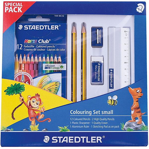 Набор для рисования, StaedtlerШкольные аксессуары<br>Набор для рисования, Staedtler<br><br>Характеристики:<br><br>- в набор входит: чернографитный карандаш 2 шт., набор цветных карандашей 12 цветов, точилка, ластик, линейка 15 см., блокнот <br>- размер упаковки: 23 * 2,1 * 23 см.<br>- вес: 250 гр.<br>- для детей в возрасте: от 6 лет<br>- Страна производитель: Малайзия<br><br>Красивый канцелярский набор от немецкого бренда Staedtler (Штадлер) отличается своим качеством и практичностью. Этот набор для творчества включает в себя два чернографитных карандаша высокого качества, пластиковую точилку, виниловый ластик высокого качества, который позволяет стирать карандаш не повреждая поверхность и не оставляя за собой множество катышек. В набор входит также алюминиевая линейка 15 см., небольшой блокнот-альбом для рисования и цветные карандаши. Классические двенадцать цветов помогут воплотить в жизнь самый лучший шедевр, карандаши уже заточены, имеют мягкую структуру грифеля и рисуют яркие линии без сильного нажатия. Рисование карандашами разрабатывает моторику ручек, творческие способности, успокаивает, помогает развить аккуратность и внимание. <br><br>Набор для рисования, Staedtler можно купить в нашем интернет-магазине.<br><br>Ширина мм: 250<br>Глубина мм: 50<br>Высота мм: 300<br>Вес г: 45<br>Возраст от месяцев: 84<br>Возраст до месяцев: 168<br>Пол: Унисекс<br>Возраст: Детский<br>SKU: 4918521