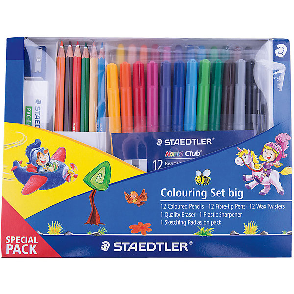 Набор для рисования, StaedtlerШкольные аксессуары<br>Новый промонабор для рисования от Staedtler в спец. упаковке. Включает 16 предметов: 12 шт.  - цветные карандаши 144; 1 уп. (12 шт.)   - фломастеры 325WP12; 1 уп.(12 шт.) - восковые мелки;<br> 1шт. - ластик; 1 шт. - пластиковая точилка для карандашей.<br>Ширина мм: 239; Глубина мм: 182; Высота мм: 26; Вес г: 45; Возраст от месяцев: 84; Возраст до месяцев: 168; Пол: Унисекс; Возраст: Детский; SKU: 4918522;