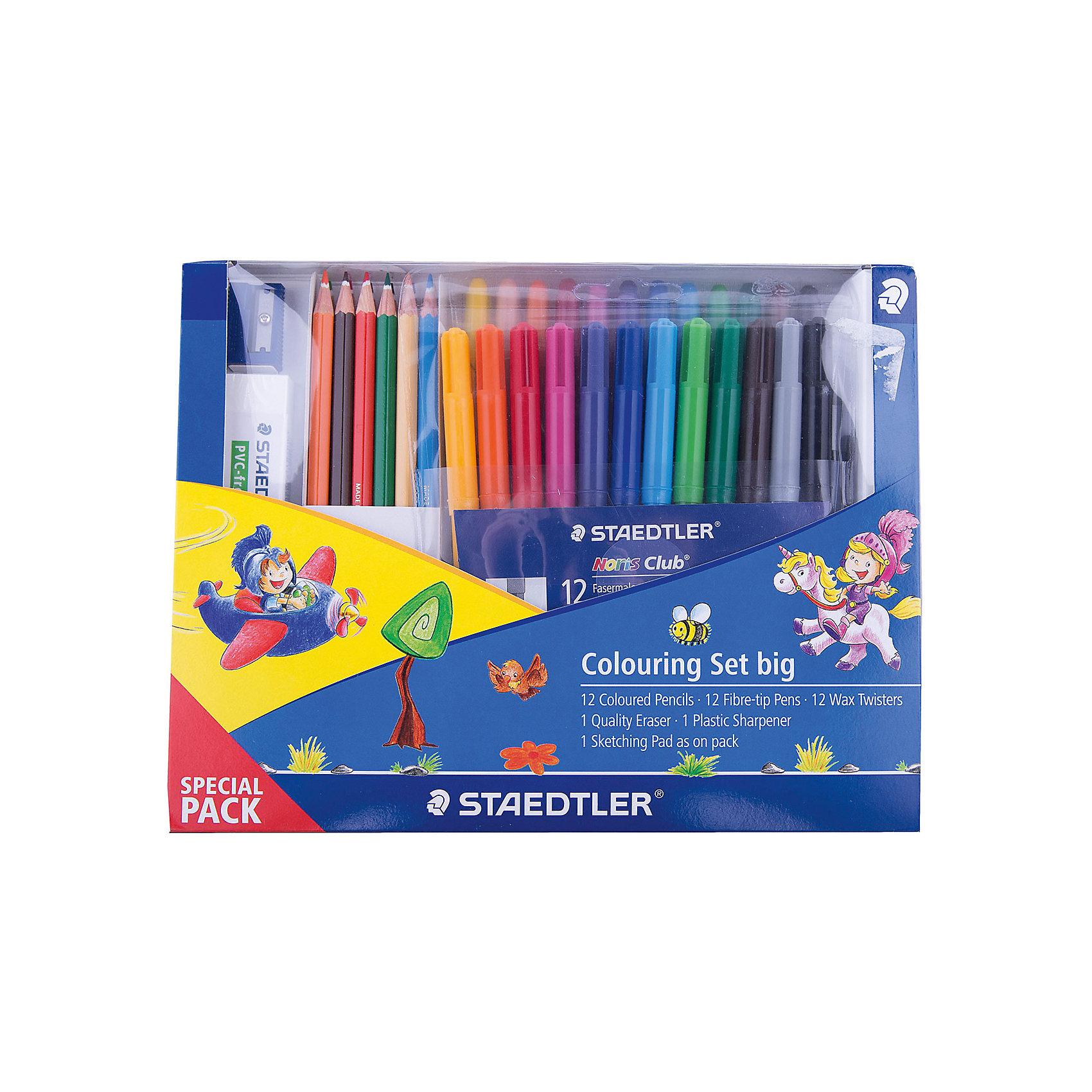 Набор для рисования, StaedtlerНовый промонабор для рисования от Staedtler в спец. упаковке. Включает 16 предметов: 12 шт.  - цветные карандаши 144; 1 уп. (12 шт.)   - фломастеры 325WP12; 1 уп.(12 шт.) - восковые мелки;<br> 1шт. - ластик; 1 шт. - пластиковая точилка для карандашей.<br><br>Ширина мм: 239<br>Глубина мм: 182<br>Высота мм: 26<br>Вес г: 45<br>Возраст от месяцев: 84<br>Возраст до месяцев: 168<br>Пол: Унисекс<br>Возраст: Детский<br>SKU: 4918522