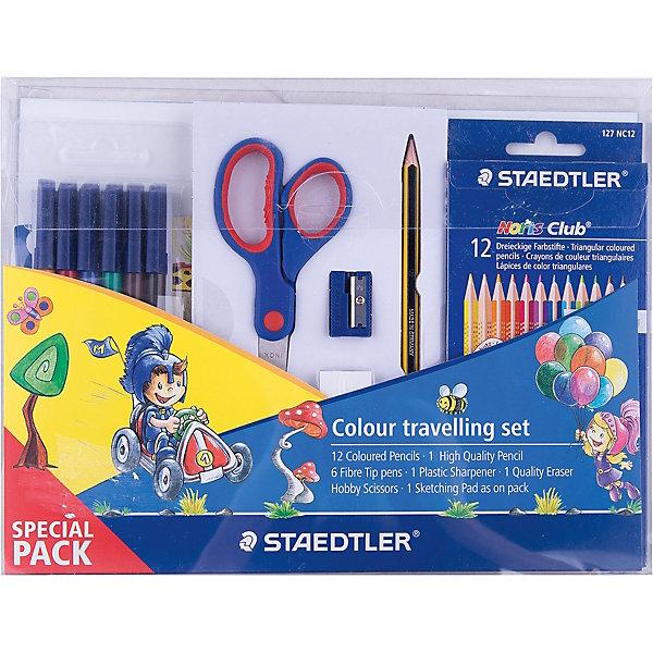 Набор канцелярии StaedtlerШкольные аксессуары<br>Новый промонабор для рисования от Staedtler в спец. упаковке. Включает 6 предметов: 1 уп .  - цветные карандаши 127 NC12; 1 шт. - чернограф. карандаш 120-HB;  1 уп.- фломастеры 326WP6;<br> 1шт. - ластик 525 B20; 1 шт. - пластиковая точилка для карандашей 510 50; 1 шт. - ножницы.<br>Ширина мм: 275; Глубина мм: 210; Высота мм: 20; Вес г: 368; Возраст от месяцев: 72; Возраст до месяцев: 2147483647; Пол: Унисекс; Возраст: Детский; SKU: 4918523;