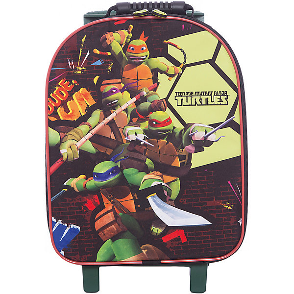 Сумка на колесах Черепашки-ниндзяДорожные сумки и чемоданы<br>Собственный чемодан поможет ребенку почувствовать себя совсем как взрослые! Героев мультфильма Черепашки-ниндзя обожает большинство современных мальчишек, поэтому чемодан с их изображением станет желанным подарком для ребенка. Это изделие отлично сшито. Материал - прочный, износостойкий в водонепроницаемый. <br>Удобную ручку можно регулировать. В чемодане есть большое отделение на молнии. Это вместительная и симпатичная модель, обеспечивающая ребенку комфорт. Чемодан произведен из качественных материалов, безопасных для ребенка.<br><br>Дополнительная информация:<br><br>цвет: зеленый;<br>материал: текстиль, металл, пластик;<br>размер: 40 х 32 х 16 см;<br>вес: 2 кг.<br><br>Сумку дна колесах Черепашки-ниндзя от компании Gulliver можно купить в нашем магазине.<br>Ширина мм: 310; Глубина мм: 200; Высота мм: 470; Вес г: 2550; Возраст от месяцев: 36; Возраст до месяцев: 2147483647; Пол: Унисекс; Возраст: Детский; SKU: 4918581;