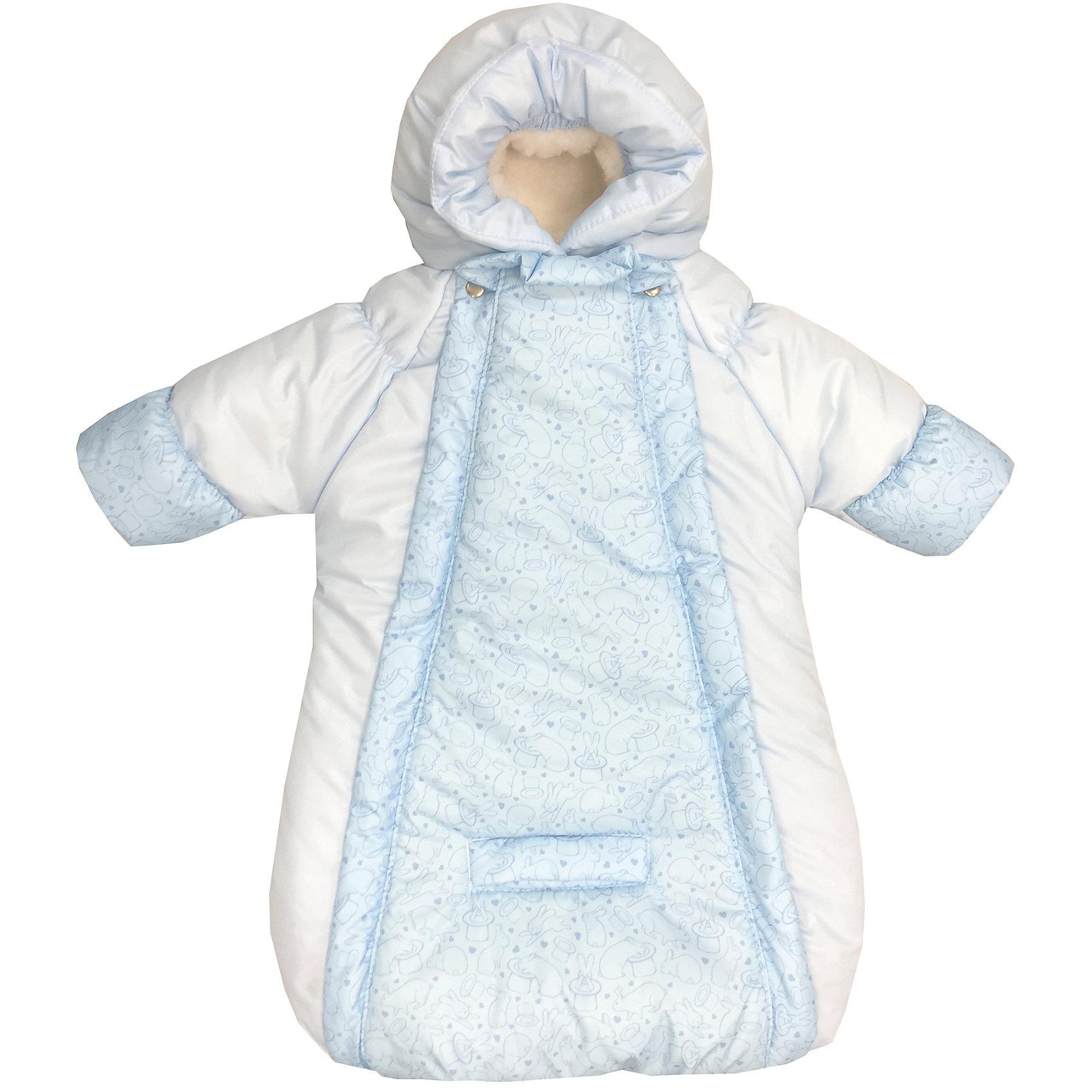 Конверт-комбинезон с ручками Зайчики, овчина, СуперМаМкет, голубойЗимние конверты<br>Характеристики:<br><br>• Вид детской одежды: верхняя<br>• Предназначение: для прогулок, на выписку<br>• Возраст: от 0 до 6 месяцев<br>• Сезон: зима<br>• Степень утепления: высокая<br>• Температурный режим: от 0? С до -30? С<br>• Пол: для мальчика<br>• Тематика рисунка: животные<br>• Цвет: голубой, молочный<br>• Материал: верх – мембрана (плащевка), утеплитель – 150 г. синтепона, подклад – овечий ворс на тканевой основе<br>• Форма конверта: комбинезон-конверт<br>• По бокам имеются застежки-молнии<br>• Застежка на кнопках у горловины<br>• На комбинезоне предусмотрены прорези как для 3-х точечных, так и для 5-ти точечных ремней безопасности<br>• У рукавов предусмотрены манжеты-отвороты<br>• Капюшон с регулировкой по овалу лица<br>• Размеры (Ш*Д): 45*75 см, длина от плеча до низа 56 см<br>• Вес: 800 г <br>• Особенности ухода: допускается деликатная стирка без использования красящих и отбеливающих средств<br><br>Комбинезон-конверт от СуперМаМкет выполнен в форме расширенного книзу кокона, на рукавах предусмотрены отвороты для защиты от холода детских ручек, капюшон имеет регулировку по овалу лица, а у горловины имеются застежки на кнопках. Верх изделия выполнен из плащевки, которая отличается повышенными качествами износоустойчивости и обладает повышенными защитными свойствами от влаги и ветра. Изделие имеет двойное утепление: из синтепона (150 г.) и подклада, выполненного из специально обработанного овечьего ворса, что обеспечивает повышенные теплоизоляционные свойства и придает изделию дополнительную мягкость. Конверт-комбинезон с ручками Зайчики, овчина, СуперМаМкет, голубой оснащен боковыми застежками-молниями, которые расстегиваются до самого низа, что обеспечивает удобство в одевании ребенка. <br><br>Конверт-комбинезон с ручками Зайчики, овчина, СуперМаМкет, голубой можно купить в нашем интернет-магазине.<br><br>Ширина мм: 750<br>Глубина мм: 450<br>Высота мм: 100<br>Вес г: 600<br>В