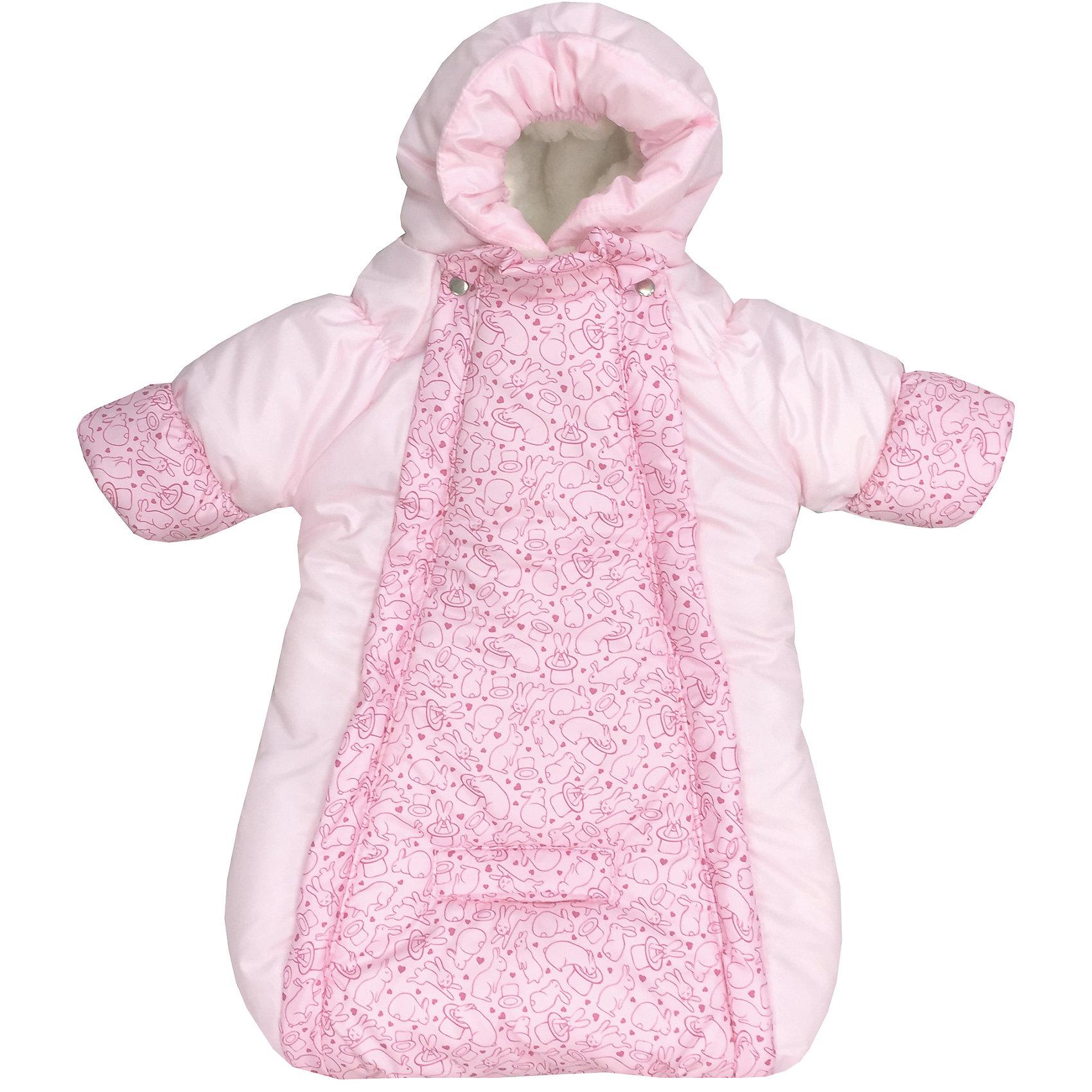 Конверт-комбинезон с ручками Зайчики, овчина, СуперМаМкет, розовыйХарактеристики:<br><br>• Вид детской одежды: верхняя<br>• Предназначение: для прогулок, на выписку<br>• Возраст: от 0 до 6 месяцев<br>• Сезон: зима<br>• Степень утепления: высокая<br>• Температурный режим: от 0? С до -30? С<br>• Пол: для девочки<br>• Тематика рисунка: животные<br>• Цвет: оттенки розового<br>• Материал: верх – мембрана (плащевка), утеплитель – 150 г. синтепона, подклад – овечий ворс на тканевой основе<br>• Форма конверта: комбинезон-конверт<br>• По бокам имеются застежки-молнии<br>• Застежка на кнопках у горловины<br>• На комбинезоне предусмотрены прорези как для 3-х точечных, так и для 5-ти точечных ремней безопасности<br>• У рукавов предусмотрены манжеты-отвороты<br>• Капюшон с регулировкой по овалу лица<br>• Размеры (Ш*Д): 45*75 см, длина от плеча до низа 56 см<br>• Вес: 800 г <br>• Особенности ухода: допускается деликатная стирка без использования красящих и отбеливающих средств<br><br>Комбинезон-конверт от СуперМаМкет выполнен в форме расширенного книзу кокона, на рукавах предусмотрены отвороты для защиты от холода детских ручек, капюшон имеет регулировку по овалу лица, а у горловины имеются застежки на кнопках. Верх изделия выполнен из плащевки, которая отличается повышенными качествами износоустойчивости и обладает повышенными защитными свойствами от влаги и ветра. Изделие имеет двойное утепление: из синтепона (150 г.) и подклада, выполненного из специально обработанного овечьего ворса, что обеспечивает повышенные теплоизоляционные свойства и придает изделию дополнительную мягкость. Конверт-комбинезон с ручками Зайчики, овчина, СуперМаМкет, розовый оснащен боковыми застежками-молниями, которые расстегиваются до самого низа, что обеспечивает удобство в одевании ребенка. <br><br>Конверт-комбинезон с ручками Зайчики, овчина, СуперМаМкет, розовый можно купить в нашем интернет-магазине.<br><br>Ширина мм: 750<br>Глубина мм: 450<br>Высота мм: 100<br>Вес г: 600<br>Возраст от месяцев: 0<