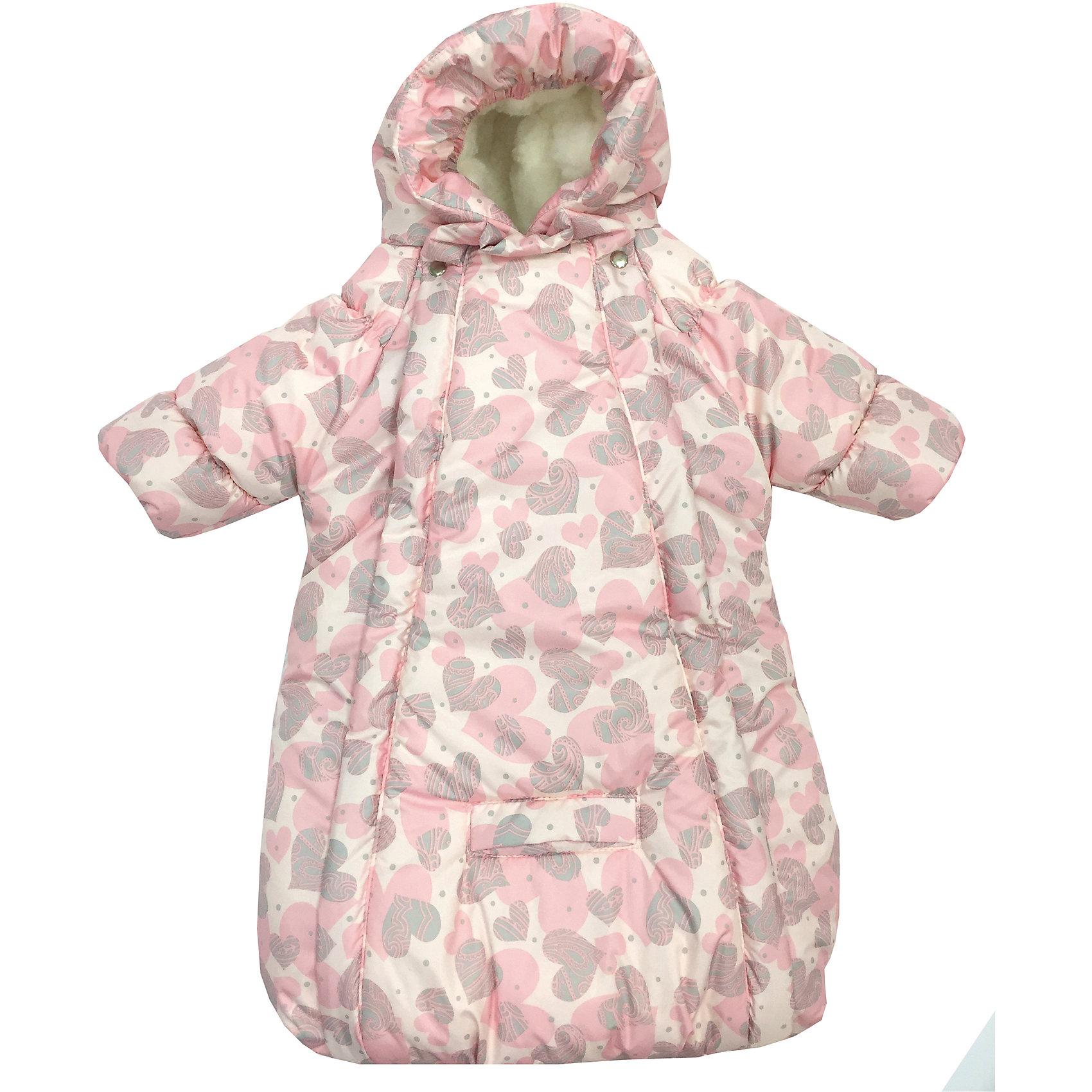 Конверт-комбинезон с ручками Сердца, овчина, СуперМаМкет, нежно-розовыйЗимние конверты<br>Характеристики:<br><br>• Вид детской одежды: верхняя<br>• Предназначение: для прогулок, на выписку<br>• Возраст: от 0 до 6 месяцев<br>• Сезон: зима<br>• Степень утепления: высокая<br>• Температурный режим: от 0? С до -30? С<br>• Пол: для девочки<br>• Тематика рисунка: сердечки<br>• Цвет: оттенки розового, светло-коричневый<br>• Материал: верх – мембрана (плащевка), утеплитель – 150 г. синтепона, подклад – овечий ворс на тканевой основе<br>• Форма конверта: комбинезон-конверт<br>• По бокам имеются застежки-молнии<br>• Застежка на кнопках у горловины<br>• На комбинезоне предусмотрены прорези как для 3-х точечных, так и для 5-ти точечных ремней безопасности<br>• У рукавов предусмотрены манжеты-отвороты<br>• Капюшон с регулировкой по овалу лица<br>• Размеры (Ш*Д): 45*75 см, длина от плеча до низа 56 см<br>• Вес: 800 г <br>• Особенности ухода: допускается деликатная стирка без использования красящих и отбеливающих средств<br><br>Комбинезон-конверт от СуперМаМкет выполнен в форме расширенного книзу кокона, на рукавах предусмотрены отвороты для защиты от холода детских ручек, капюшон имеет регулировку по овалу лица, а у горловины имеются застежки на кнопках. Верх изделия выполнен из плащевки, которая отличается повышенными качествами износоустойчивости и обладает повышенными защитными свойствами от влаги и ветра. Изделие имеет двойное утепление: из синтепона (150 г.) и подклада, выполненного из специально обработанного овечьего ворса, что обеспечивает повышенные теплоизоляционные свойства и придает изделию дополнительную мягкость. Конверт-комбинезон с ручками Сердца, овчина, СуперМаМкет, нежно-розовый оснащен боковыми застежками-молниями, которые расстегиваются до самого низа, что обеспечивает удобство в одевании ребенка. <br><br>Конверт-комбинезон с ручками Сердца, овчина, СуперМаМкет, нежно-розовый можно купить в нашем интернет-магазине.<br><br>Ширина мм: 750<br>Глубина мм: 450<br>В