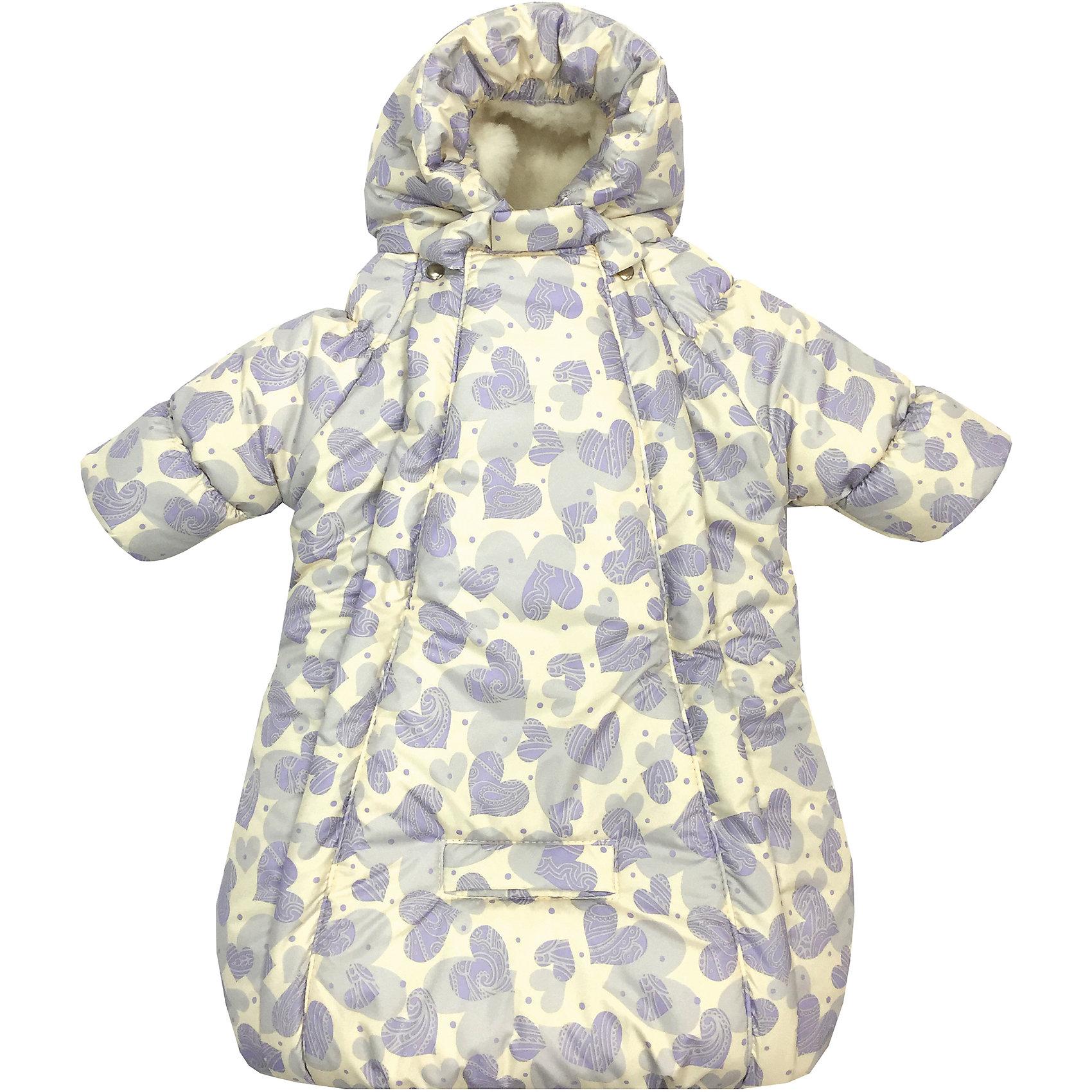 Конверт-комбинезон с ручками Сердца, овчина, СуперМаМкет, фиолетовыйЗимние конверты<br>Характеристики:<br><br>• Вид детской одежды: верхняя<br>• Предназначение: для прогулок, на выписку<br>• Возраст: от 0 до 6 месяцев<br>• Сезон: зима<br>• Степень утепления: высокая<br>• Температурный режим: от 0? С до -30? С<br>• Пол: универсальный<br>• Тематика рисунка: сердечки<br>• Цвет: молочный, фиолетовый<br>• Материал: верх – мембрана (плащевка), утеплитель – 150 г. синтепона, подклад – овечий ворс на тканевой основе<br>• Форма конверта: комбинезон-конверт<br>• По бокам имеются застежки-молнии<br>• Застежка на кнопках у горловины<br>• На комбинезоне предусмотрены прорези как для 3-х точечных, так и для 5-ти точечных ремней безопасности<br>• У рукавов предусмотрены манжеты-отвороты<br>• Капюшон с регулировкой по овалу лица<br>• Размеры (Ш*Д): 45*75 см, длина от плеча до низа 56 см<br>• Вес: 800 г <br>• Особенности ухода: допускается деликатная стирка без использования красящих и отбеливающих средств<br><br>Комбинезон-конверт от СуперМаМкет выполнен в форме расширенного книзу кокона, на рукавах предусмотрены отвороты для защиты от холода детских ручек, капюшон имеет регулировку по овалу лица, а у горловины имеются застежки на кнопках. Верх изделия выполнен из плащевки, которая отличается повышенными качествами износоустойчивости и обладает повышенными защитными свойствами от влаги и ветра. Изделие имеет двойное утепление: из синтепона (150 г.) и подклада, выполненного из специально обработанного овечьего ворса, что обеспечивает повышенные теплоизоляционные свойства и придает изделию дополнительную мягкость. Конверт-комбинезон с ручками Сердца, овчина, СуперМаМкет, фиолетовый оснащен боковыми застежками-молниями, которые расстегиваются до самого низа, что обеспечивает удобство в одевании ребенка. Комбинезон выполнен в стильном дизайне: принт из сердечек придает изделию особый стиль и изысканность, поэтому его можно использовать не только для прогулок, но и для выписки из роддом