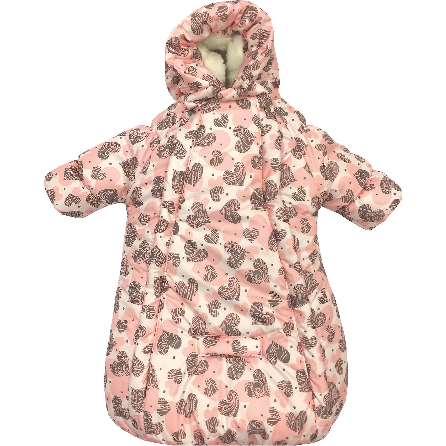 Конверт-комбинезон с ручками Сердца, овчина, СуперМаМкет, ярко-розовыйЗимние конверты<br>Характеристики:<br><br>• Вид детской одежды: верхняя<br>• Предназначение: для прогулок, на выписку<br>• Возраст: от 0 до 6 месяцев<br>• Сезон: зима<br>• Степень утепления: высокая<br>• Температурный режим: от 0? С до -30? С<br>• Пол: для девочки<br>• Тематика рисунка: сердечки<br>• Цвет: оттенки розового, коричневый<br>• Материал: верх – мембрана (плащевка), утеплитель – 150 г. синтепона, подклад – овечий ворс на тканевой основе<br>• Форма конверта: комбинезон-конверт<br>• По бокам имеются застежки-молнии<br>• Застежка на кнопках у горловины<br>• На комбинезоне предусмотрены прорези как для 3-х точечных, так и для 5-ти точечных ремней безопасности<br>• У рукавов предусмотрены манжеты-отвороты<br>• Капюшон с регулировкой по овалу лица<br>• Размеры (Ш*Д): 45*75 см, длина от плеча до низа 56 см<br>• Вес: 800 г <br>• Особенности ухода: допускается деликатная стирка без использования красящих и отбеливающих средств<br><br>Комбинезон-конверт от СуперМаМкет выполнен в форме расширенного книзу кокона, на рукавах предусмотрены отвороты для защиты от холода детских ручек, капюшон имеет регулировку по овалу лица, а у горловины имеются застежки на кнопках. Верх изделия выполнен из плащевки, которая отличается повышенными качествами износоустойчивости и обладает повышенными защитными свойствами от влаги и ветра. Изделие имеет двойное утепление: из синтепона (150 г.) и подклада, выполненного из специально обработанного овечьего ворса, что обеспечивает повышенные теплоизоляционные свойства и придает изделию дополнительную мягкость. Конверт-комбинезон с ручками Сердца, овчина, СуперМаМкет, ярко-розовый оснащен боковыми застежками-молниями, которые расстегиваются до самого низа, что обеспечивает удобство в одевании ребенка. Комбинезон выполнен в стильном дизайне: принт из сердечек коричневого и розового цветов придает изделию особый стиль и изысканность, поэтому его можно использовать не только 