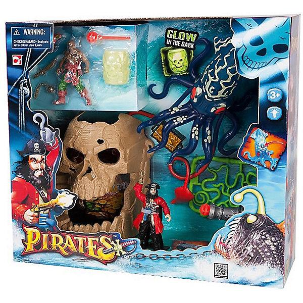 Набор Пираты. Битва с гигантским кальмаромИгровые наборы с фигурками<br>Играть в пиратов любит практически каждый мальчишка. Сделать игру ярче и увлекательнее поможет игровой набор Пираты. Битва с гигантским кальмаром. Игрушки в нем отлично детализированы, в комплект входит пещера в форме черепа (с сокровищами), две фигурки пиратов, гигантский кальмар (может светиться), пушка, стреляющая ядрами, сундук с золотом, бочка, светящаяся в темноте, и оружие.                          <br>Этот набор обязательно порадует ребенка! Игры с ним помогают детям развивать воображение, логику, мелкую моторику и творческое мышление. Набор сделан из качественных и безопасных для ребенка материалов.<br><br>Дополнительная информация:<br><br>цвет: разноцветный;<br>размер: 42 х 13 х 38 см;<br>вес: 700 г;<br>батарейки: 3хAG13 (входят в набор);  <br>материал: пластик;<br>комплектация: пещера, две фигурки пиратов, гигантский кальмар, пушка, сундук, бочка и оружие.<br><br>Набор Пираты. Битва с гигантским кальмаром можно купить в нашем магазине.<br><br>Ширина мм: 50<br>Глубина мм: 20<br>Высота мм: 50<br>Вес г: 700<br>Возраст от месяцев: 36<br>Возраст до месяцев: 120<br>Пол: Мужской<br>Возраст: Детский<br>SKU: 4918678