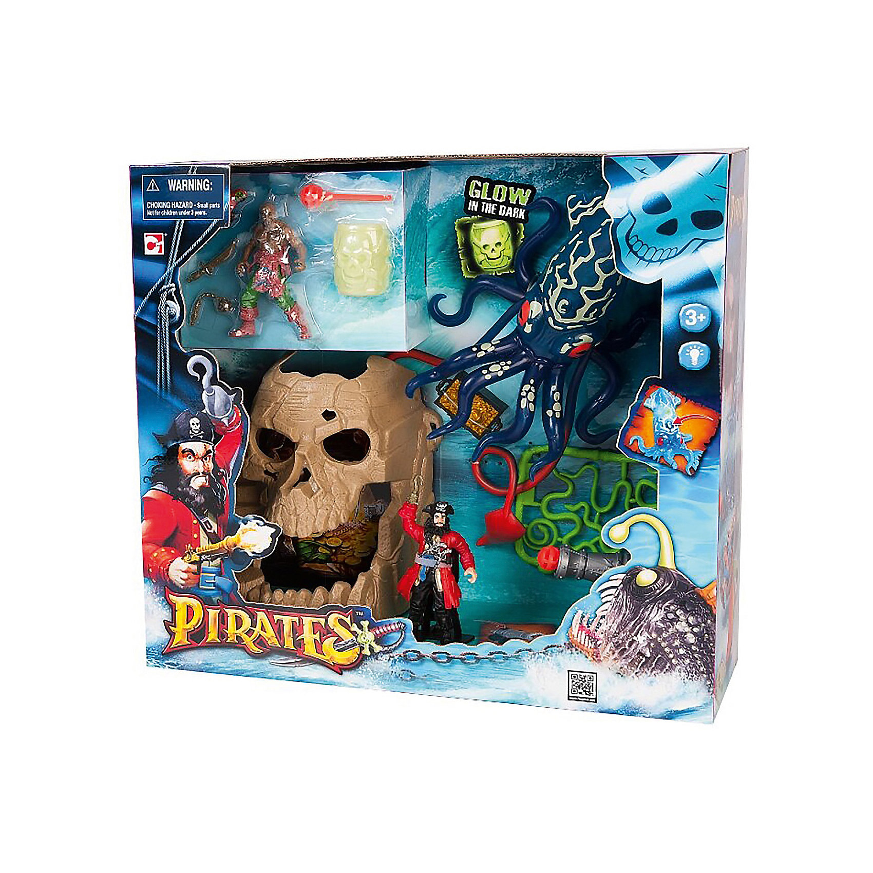 Набор Пираты. Битва с гигантским кальмаромИграть в пиратов любит практически каждый мальчишка. Сделать игру ярче и увлекательнее поможет игровой набор Пираты. Битва с гигантским кальмаром. Игрушки в нем отлично детализированы, в комплект входит пещера в форме черепа (с сокровищами), две фигурки пиратов, гигантский кальмар (может светиться), пушка, стреляющая ядрами, сундук с золотом, бочка, светящаяся в темноте, и оружие.                          <br>Этот набор обязательно порадует ребенка! Игры с ним помогают детям развивать воображение, логику, мелкую моторику и творческое мышление. Набор сделан из качественных и безопасных для ребенка материалов.<br><br>Дополнительная информация:<br><br>цвет: разноцветный;<br>размер: 42 х 13 х 38 см;<br>вес: 700 г;<br>батарейки: 3хAG13 (входят в набор);  <br>материал: пластик;<br>комплектация: пещера, две фигурки пиратов, гигантский кальмар, пушка, сундук, бочка и оружие.<br><br>Набор Пираты. Битва с гигантским кальмаром можно купить в нашем магазине.<br><br>Ширина мм: 50<br>Глубина мм: 20<br>Высота мм: 50<br>Вес г: 700<br>Возраст от месяцев: 36<br>Возраст до месяцев: 120<br>Пол: Мужской<br>Возраст: Детский<br>SKU: 4918678